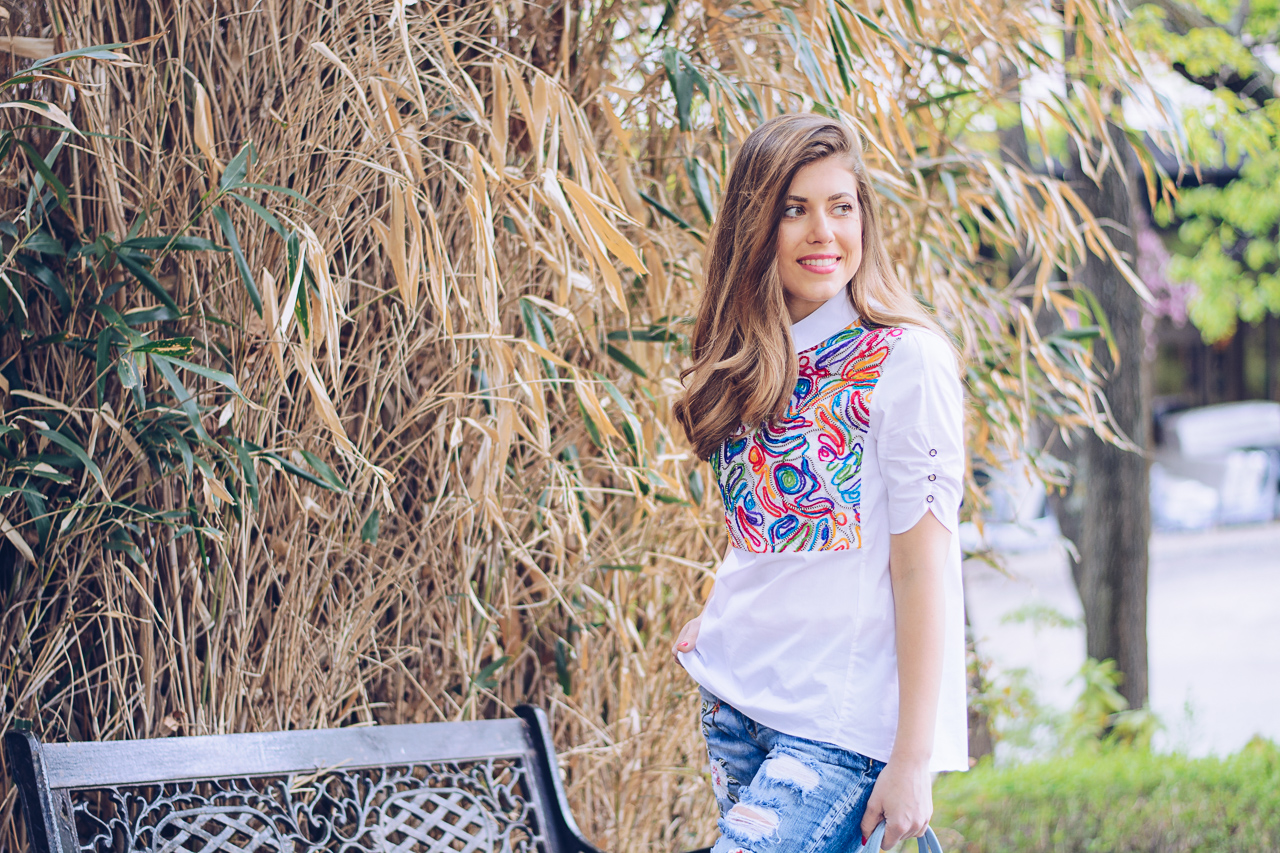 Embroidered shirt blogger