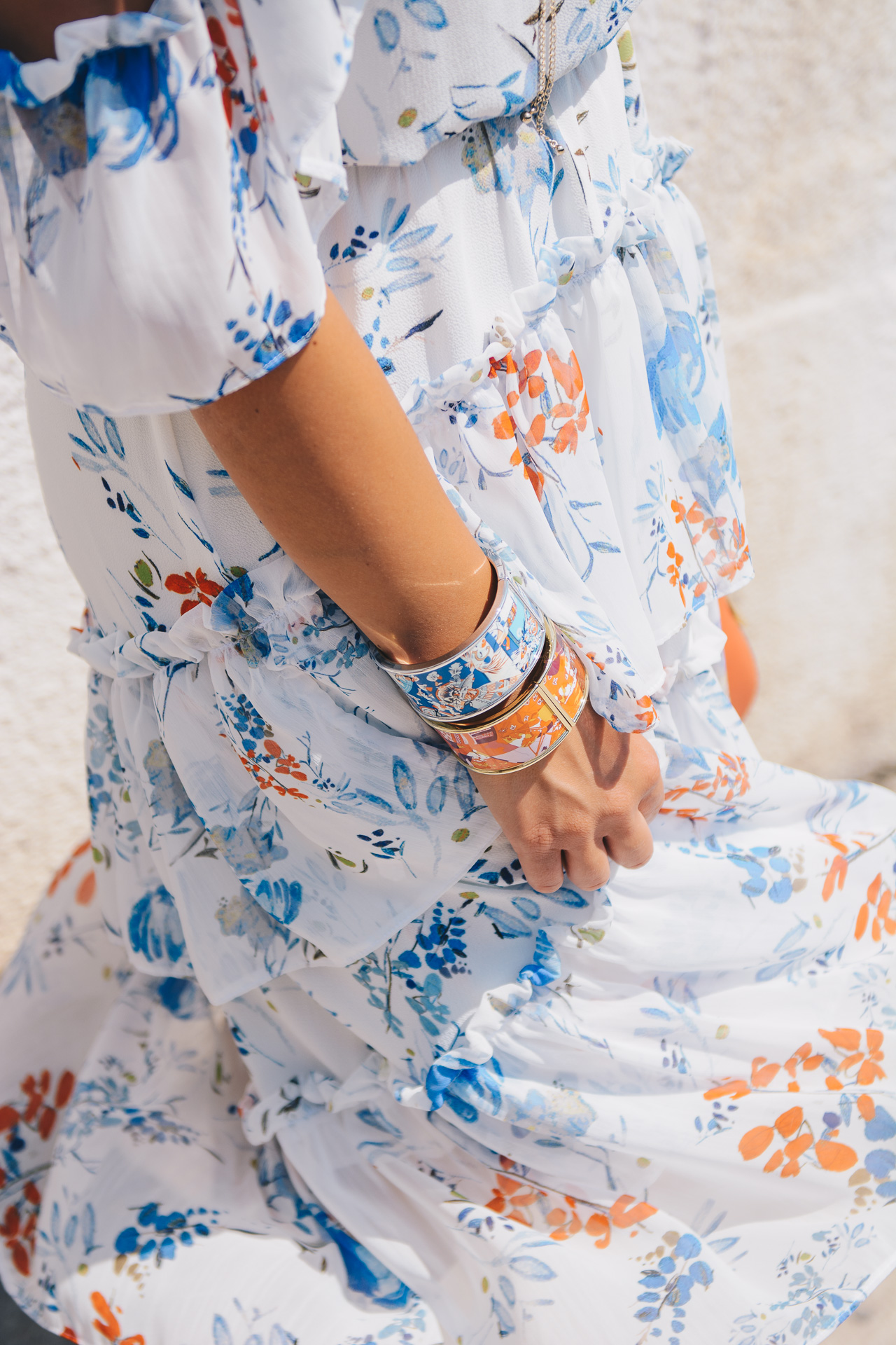 Floral midi dress blue orange bracelet