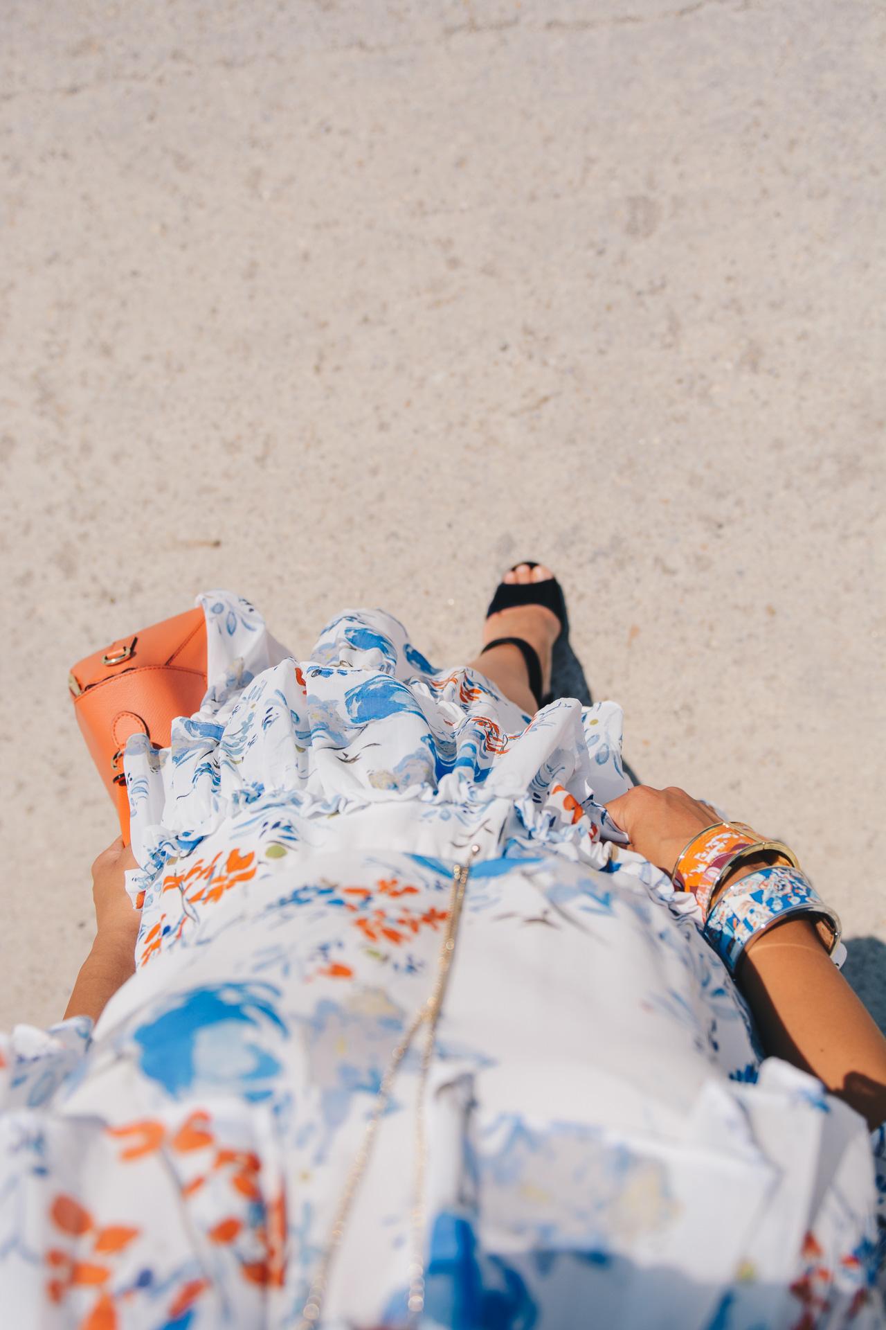 Floral midi dress look