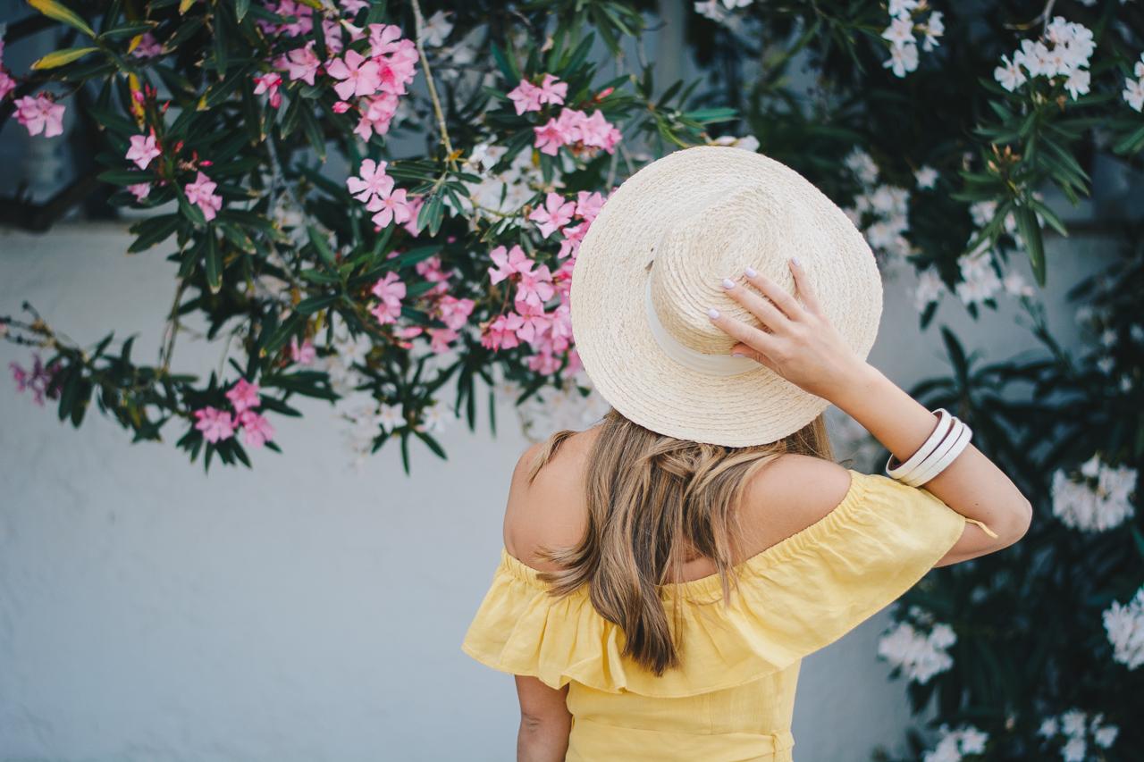 Straw hat yellow sun dress