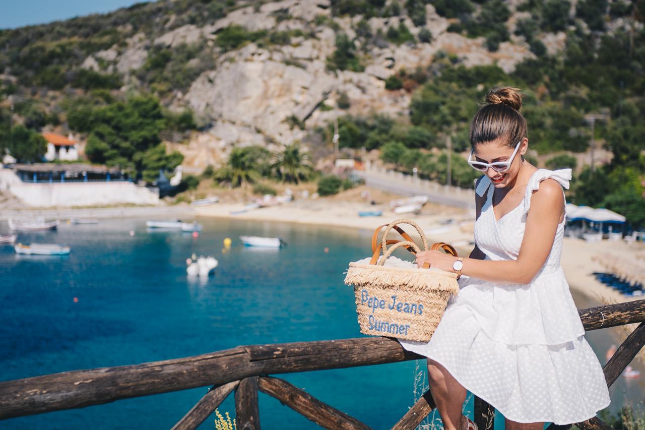 Summer retro white midi dress halkidiki greece
