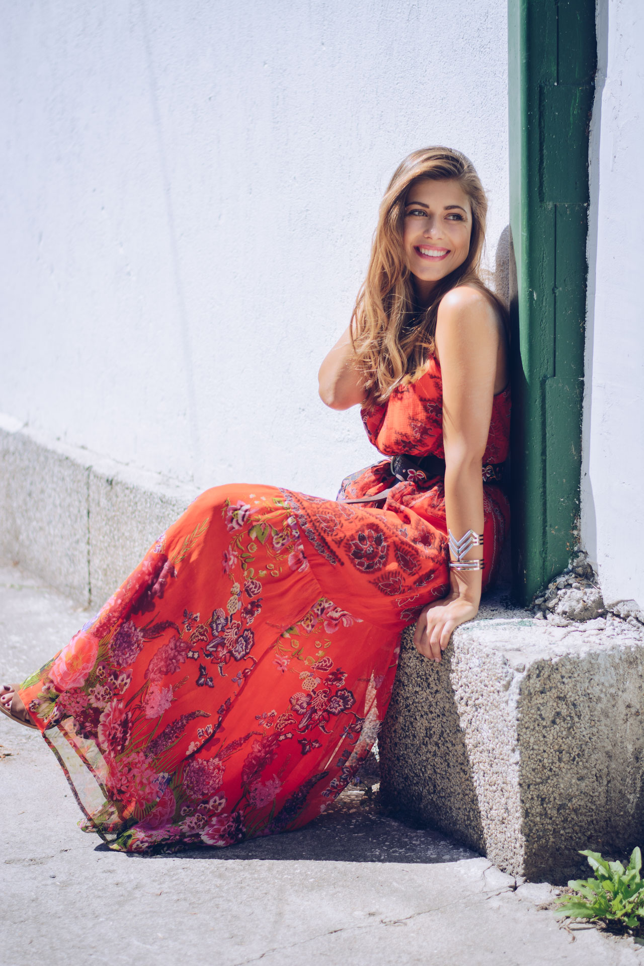 ROJO CLAVEL DRESS Bulgarian blogger wearing desigual maxi dress