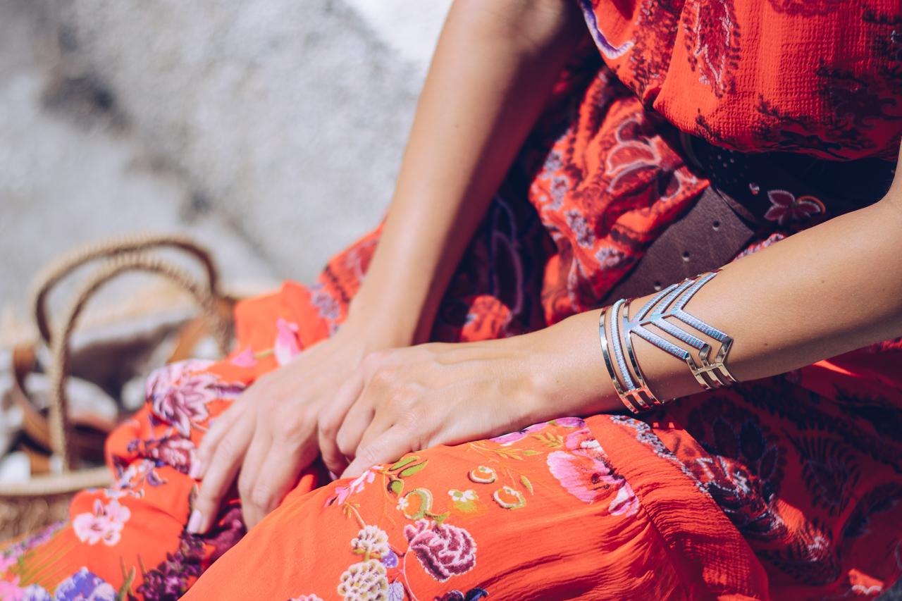червена рокля на карамфили Desigual details - Rojo Clavel Dress