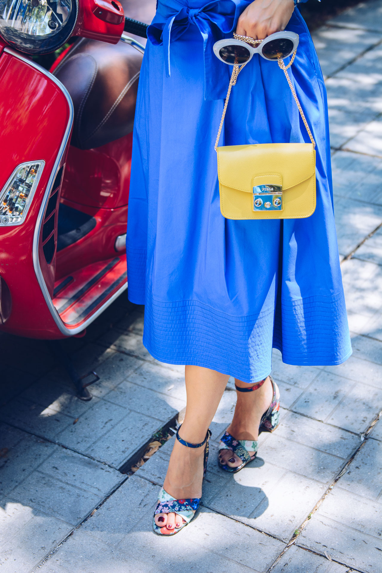 Marella blue midi skirt furla handbag