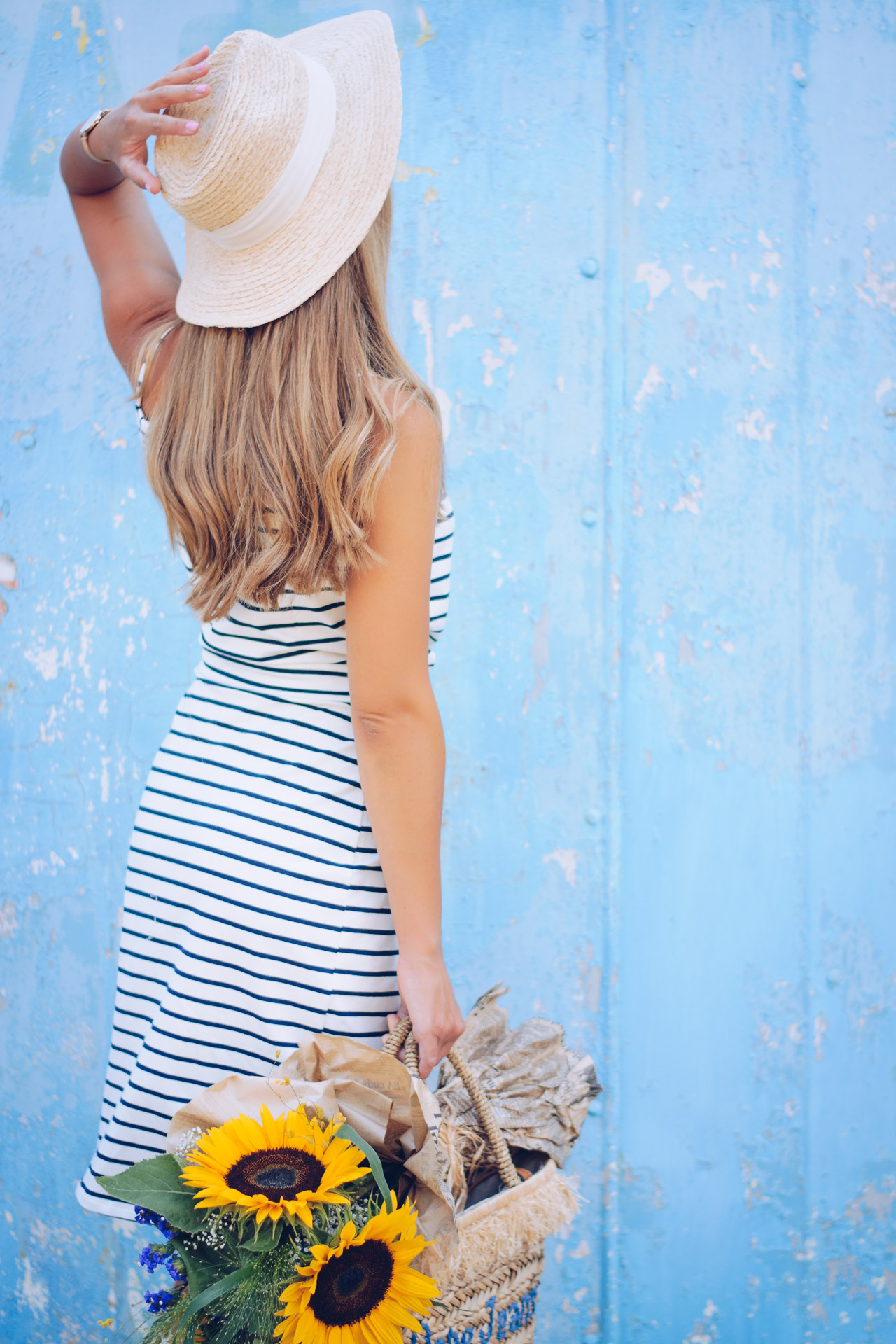 Marine striped dress straw hat