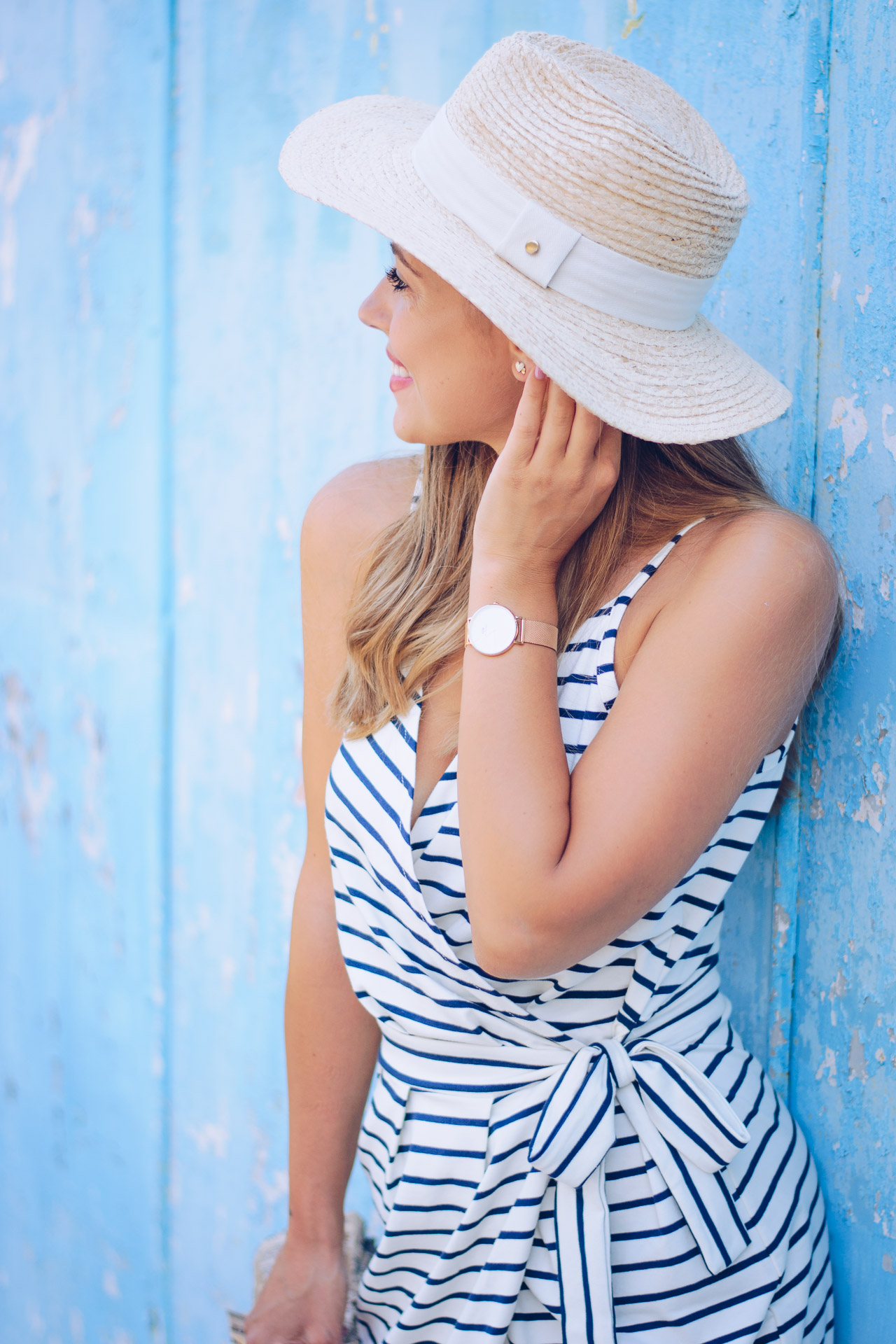 Marine striped midi dress