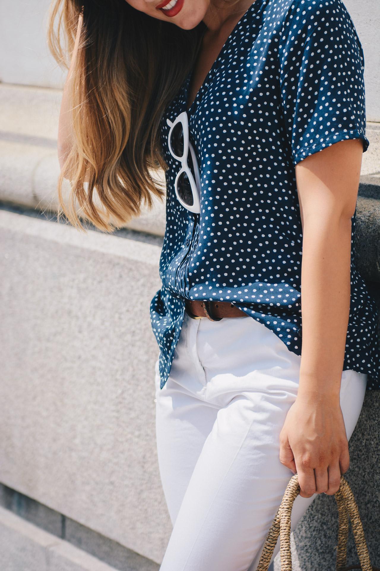 Polka dot shirt retro sunglasses