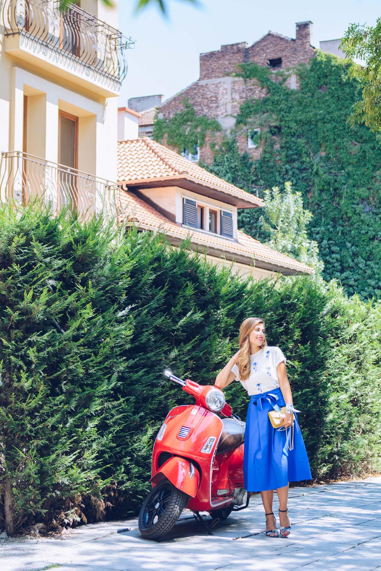 Vespa scooter fashion blogger