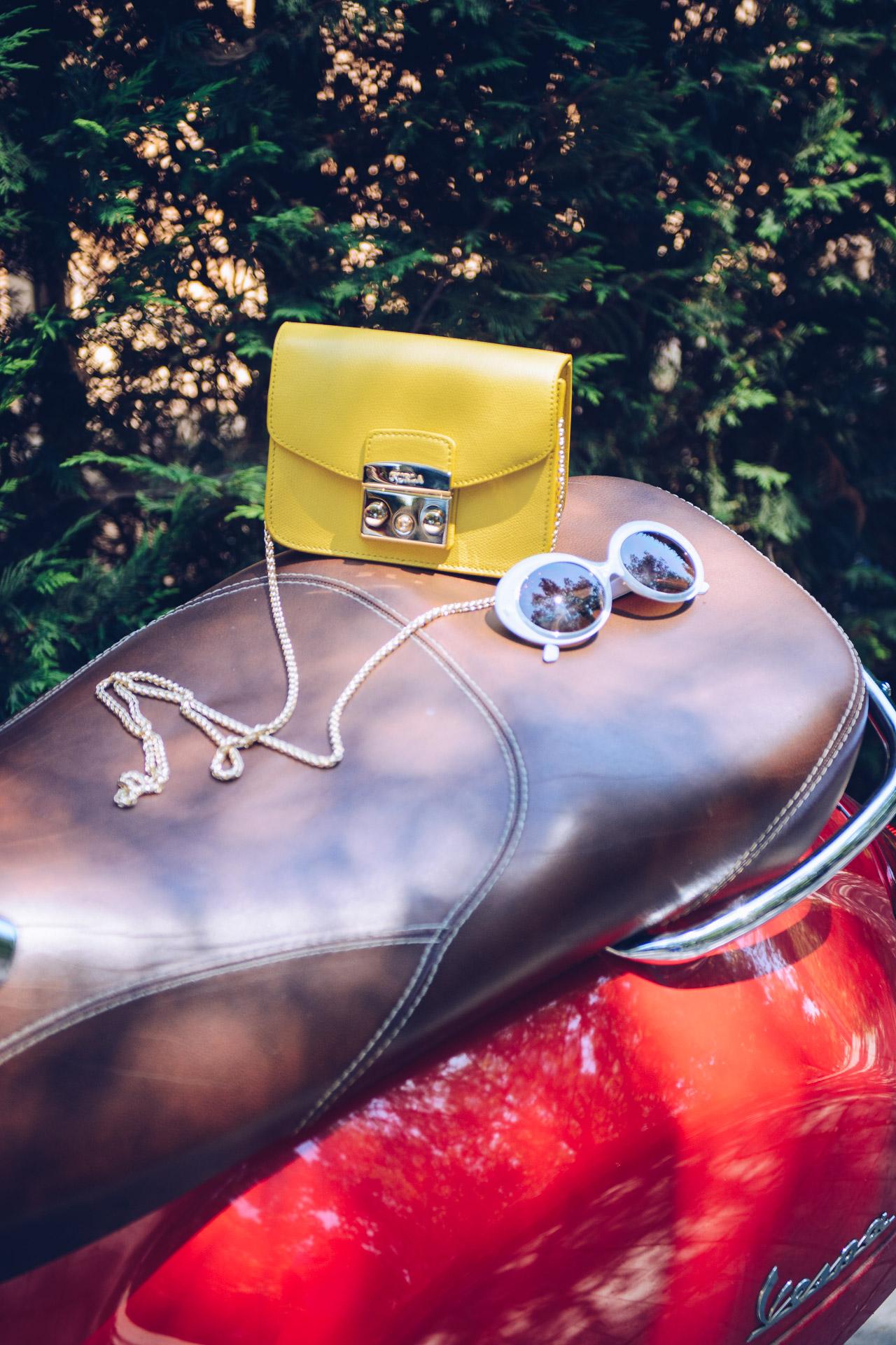 yellow Furla metropolis handbag