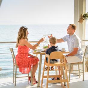 family dinner by the sea Aelia beach bar