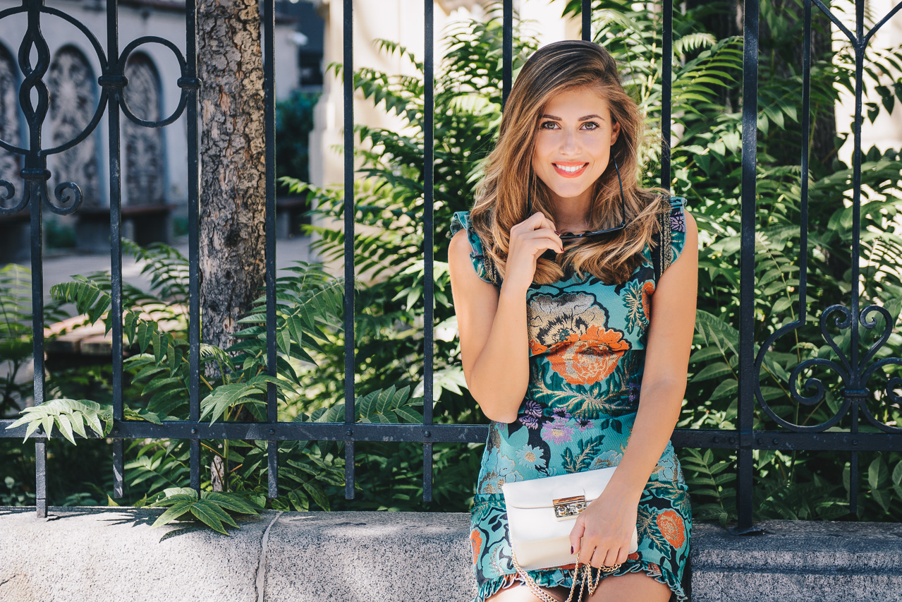 Bulgarian blogger wearing floral dress