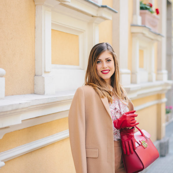 Favorite way to style red - camel coat - любим начин да нося червено