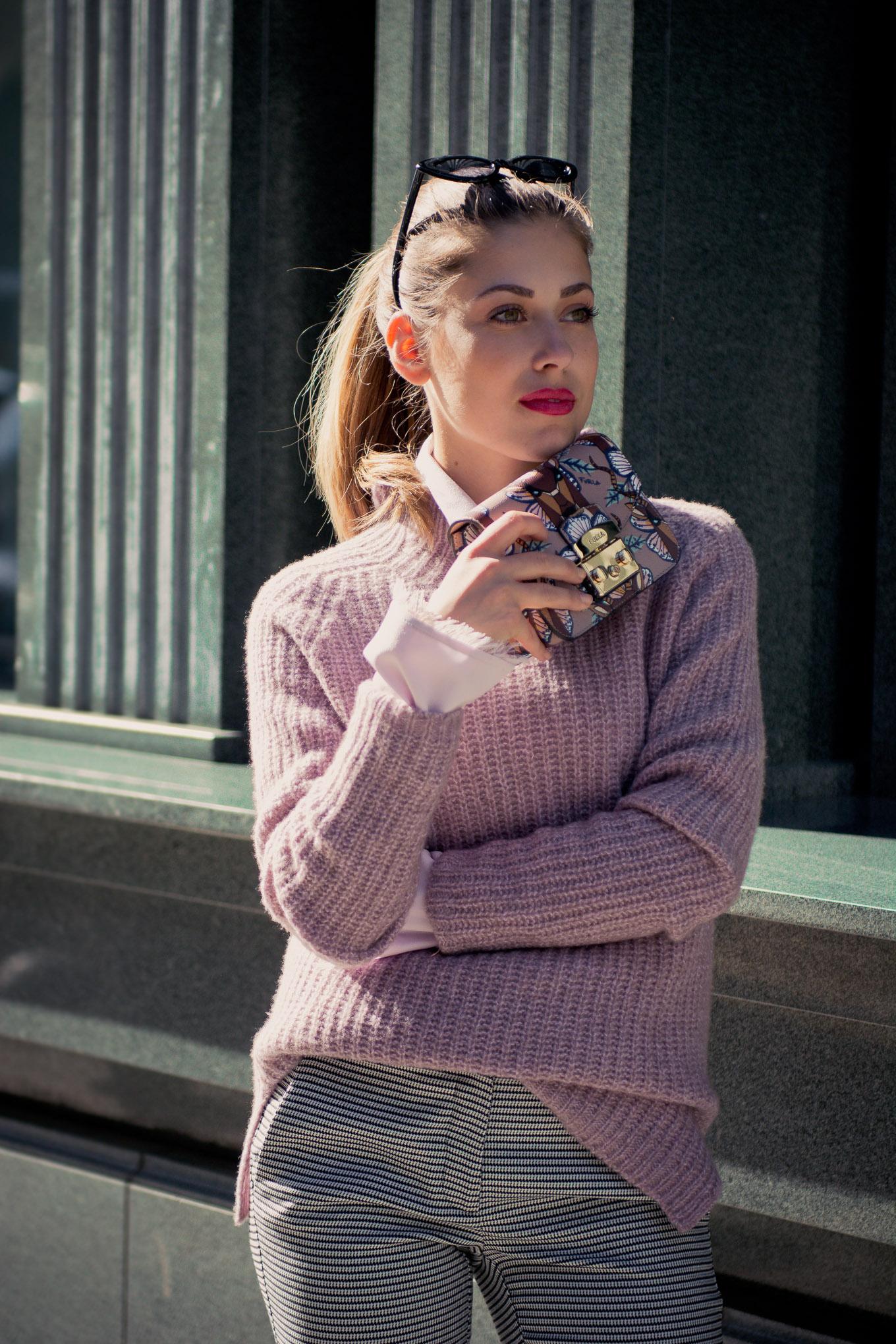 lilac Sweather mini furla handbag