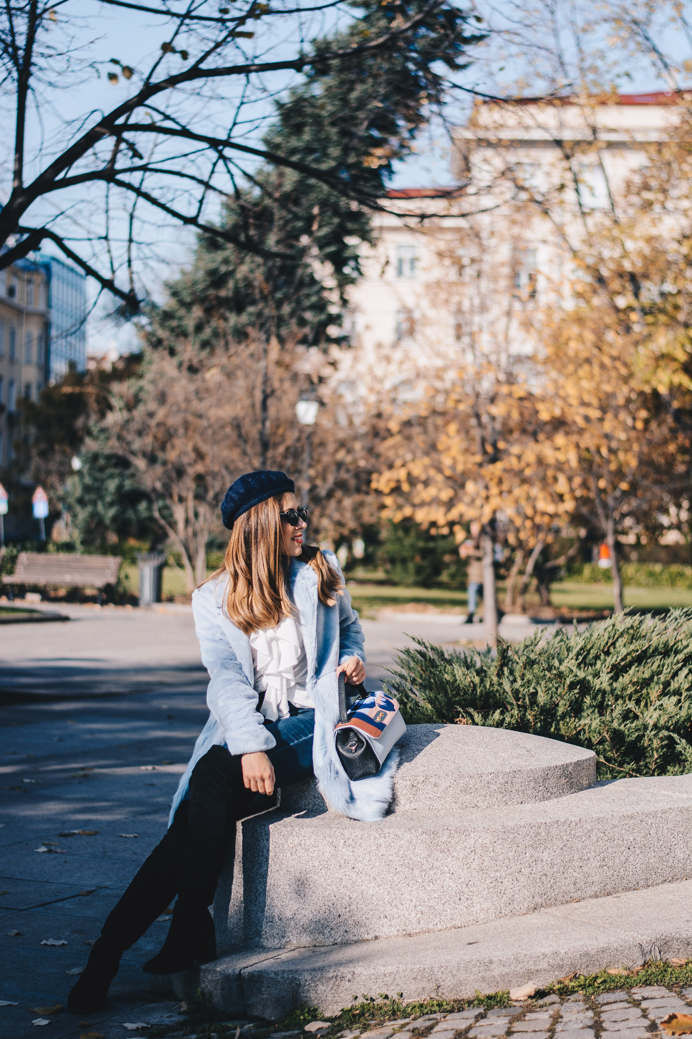 Autumn style blue coat