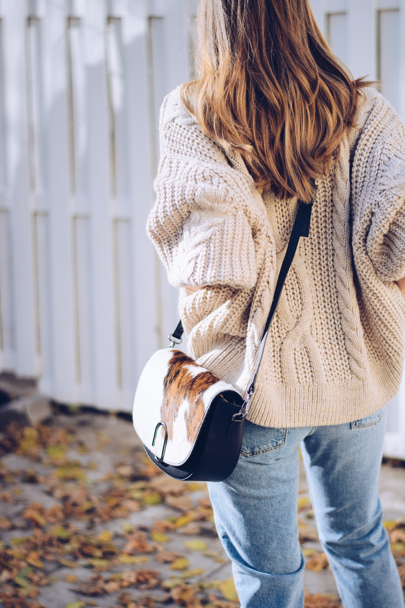 Cow bag cozy sweater