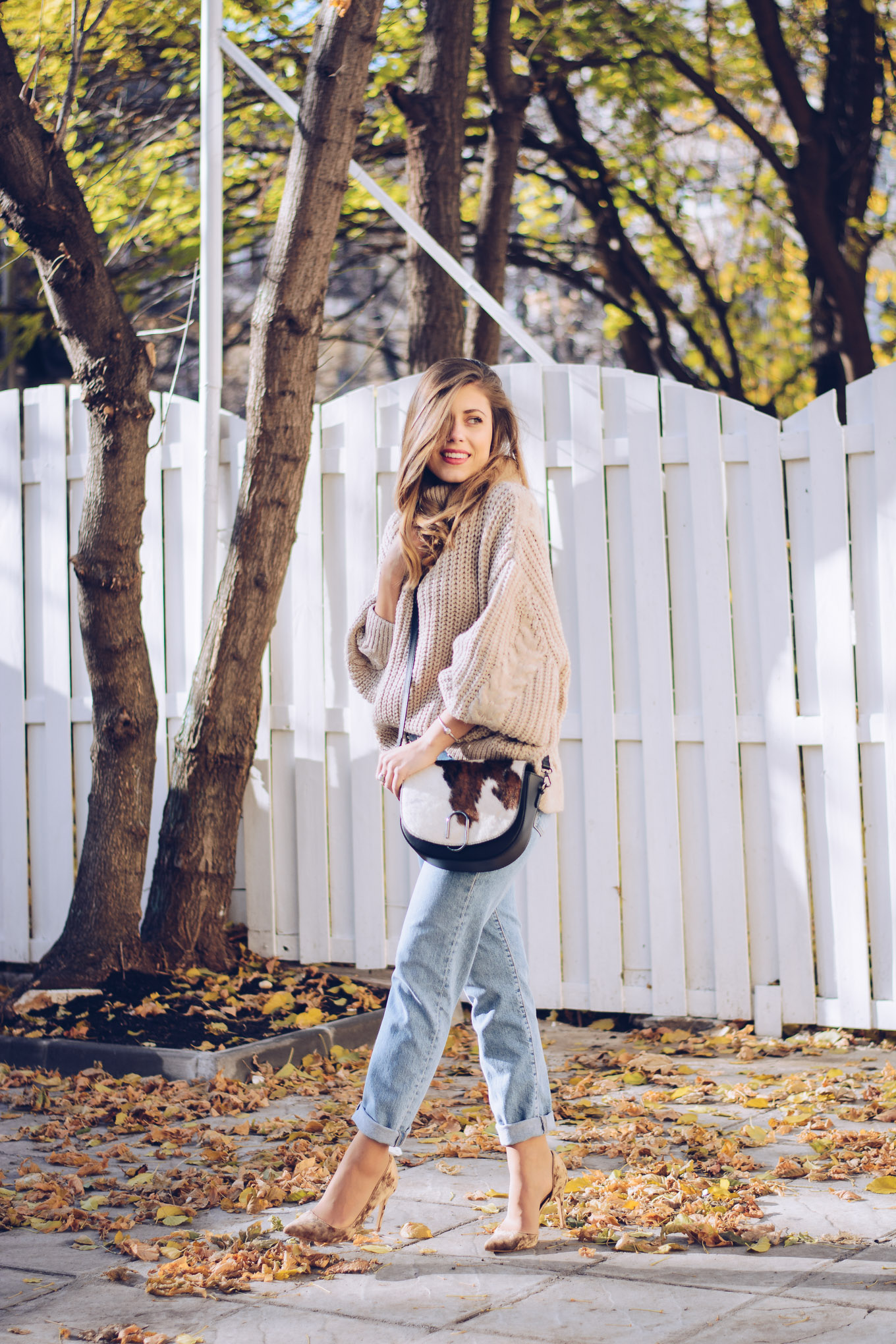 Cozy sweater studded mom jeans