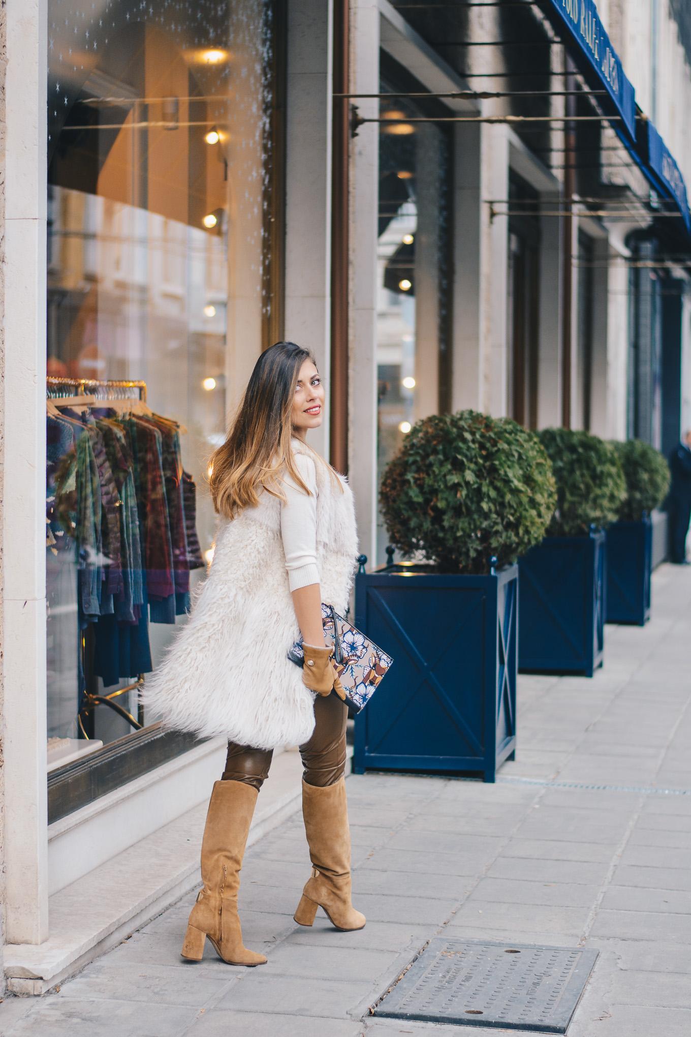 Faux fur vest Pennyblack - кожен панталон
