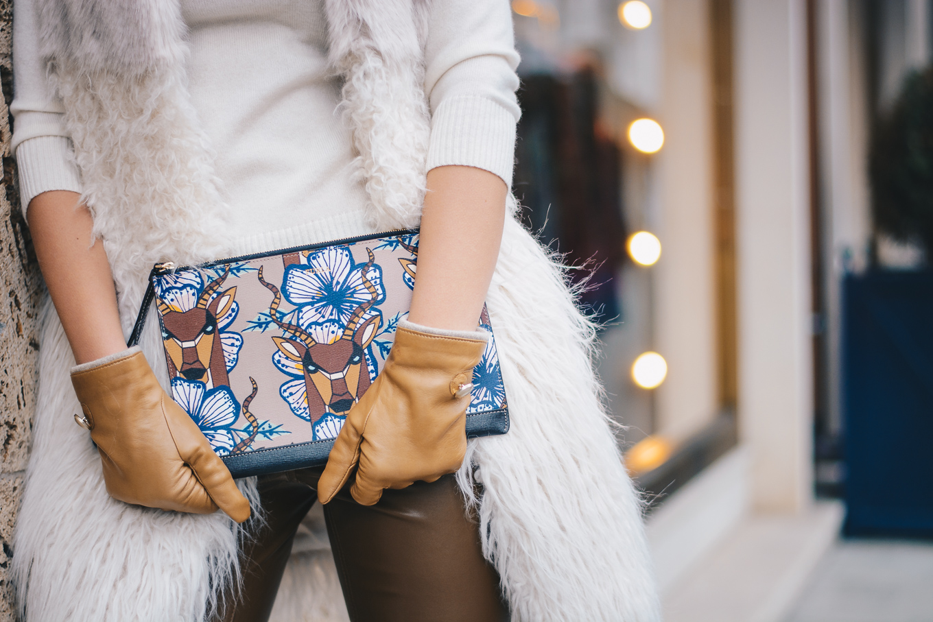 Furla clutch Marella leather gloves