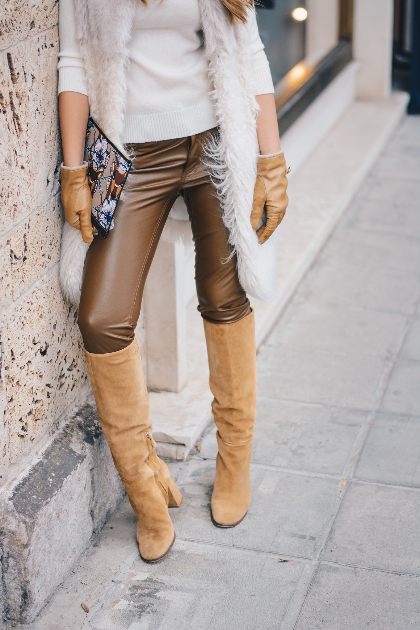 Merella-brown faux leather trousers