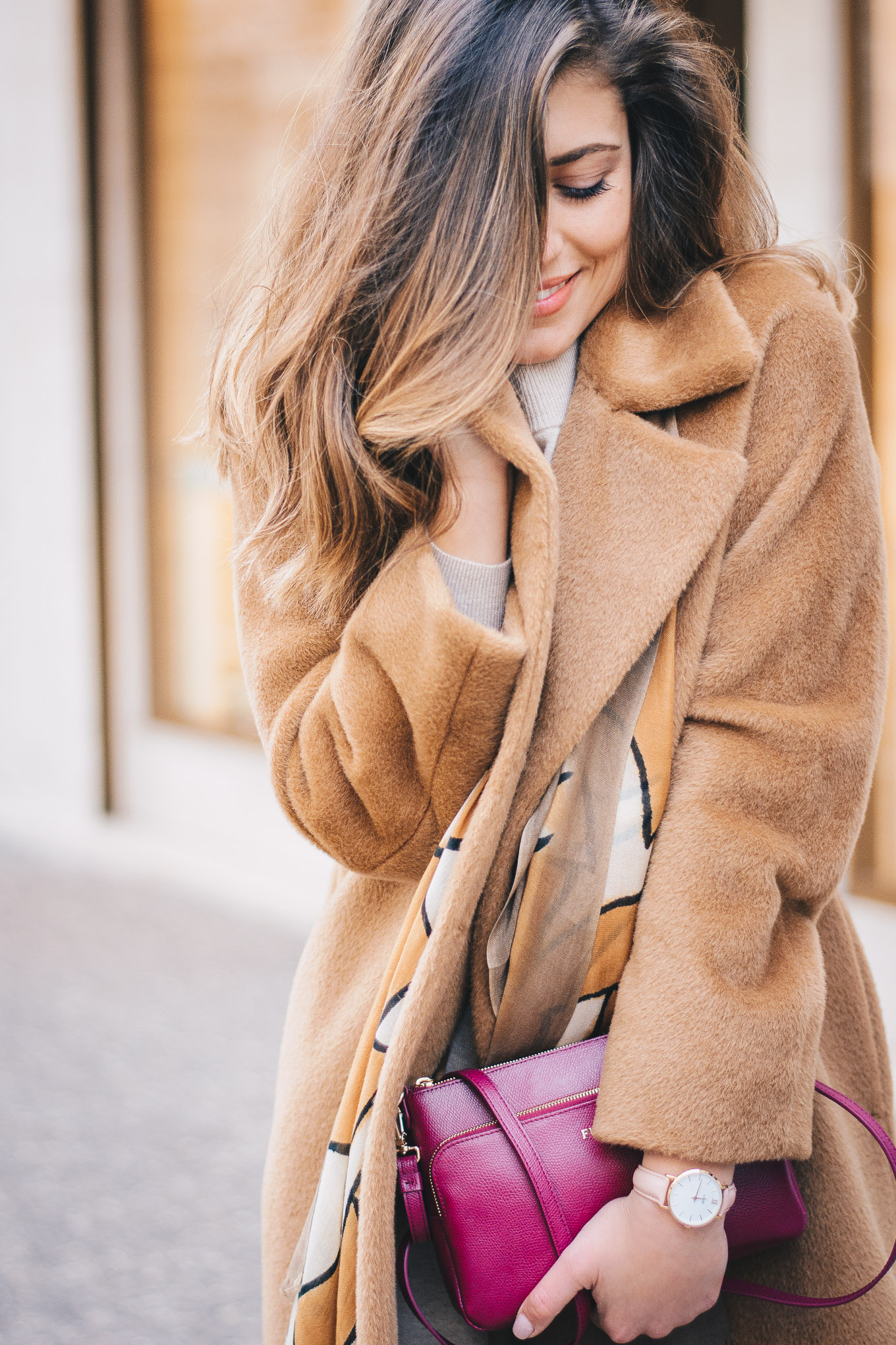 Cozy camel coat winter 2018