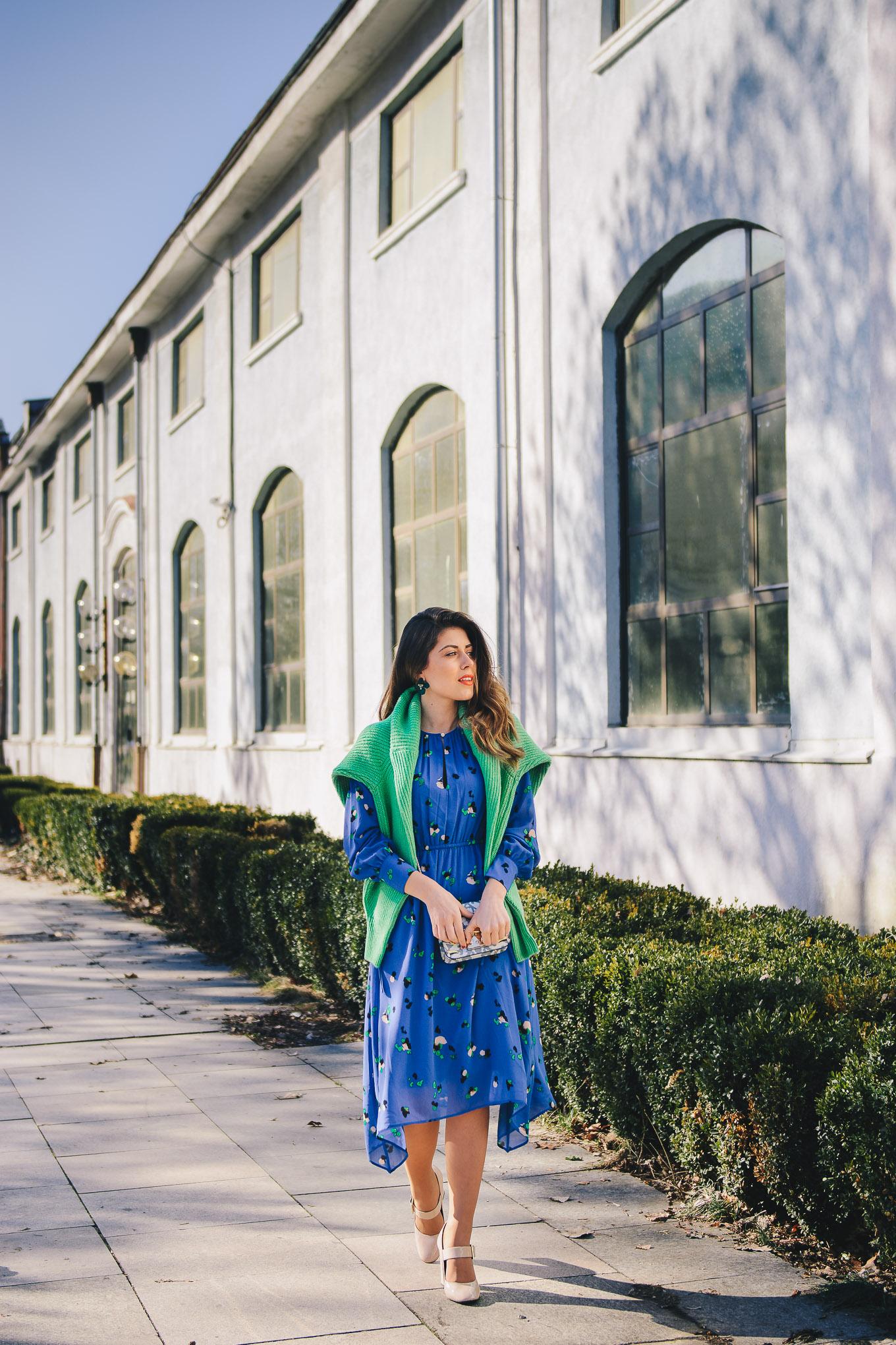 Spring green blue dress