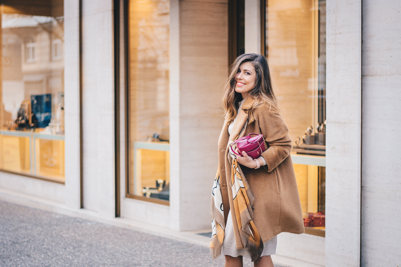 Style blogger wearing camel coat