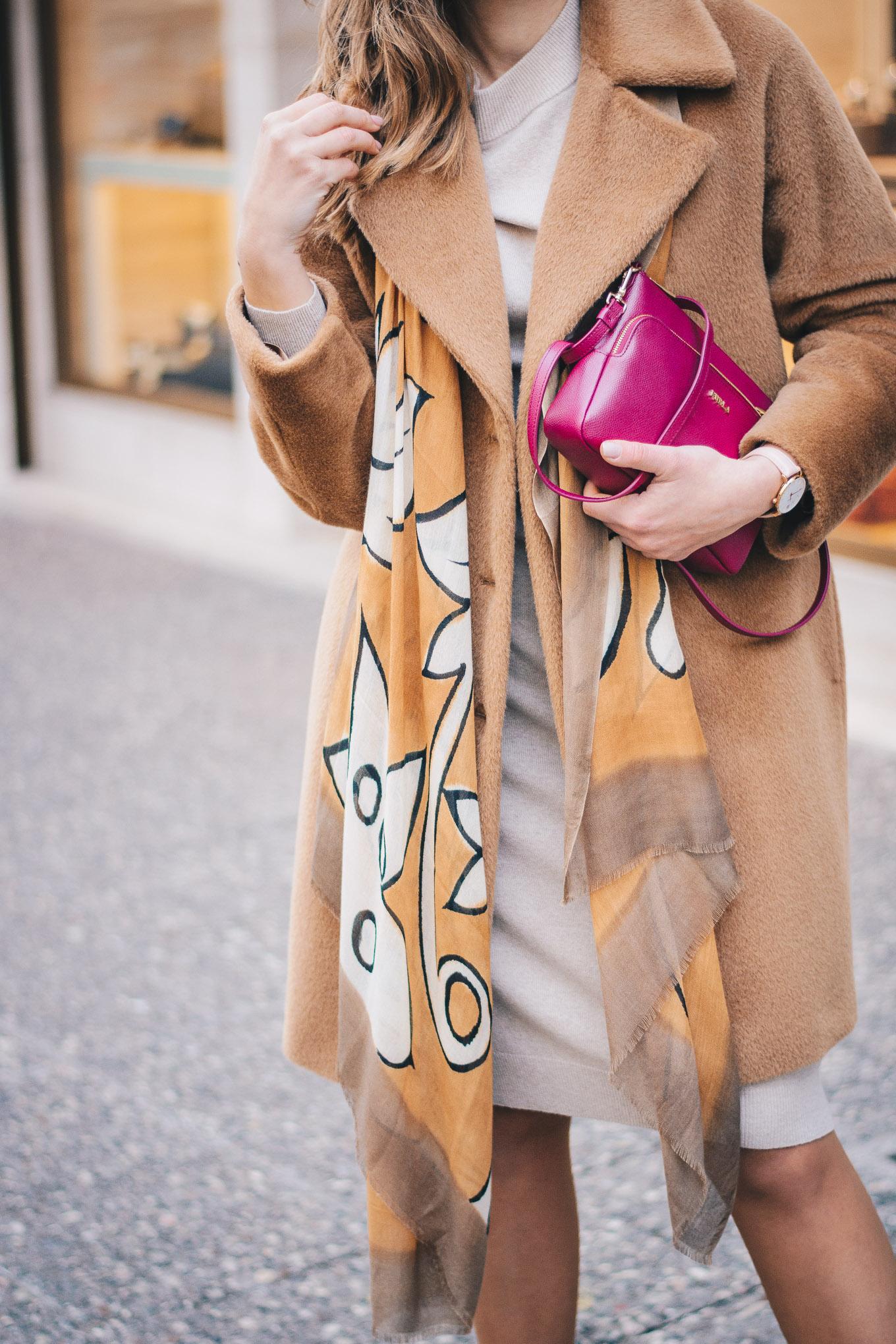 Styling Camel coat Furla handbag