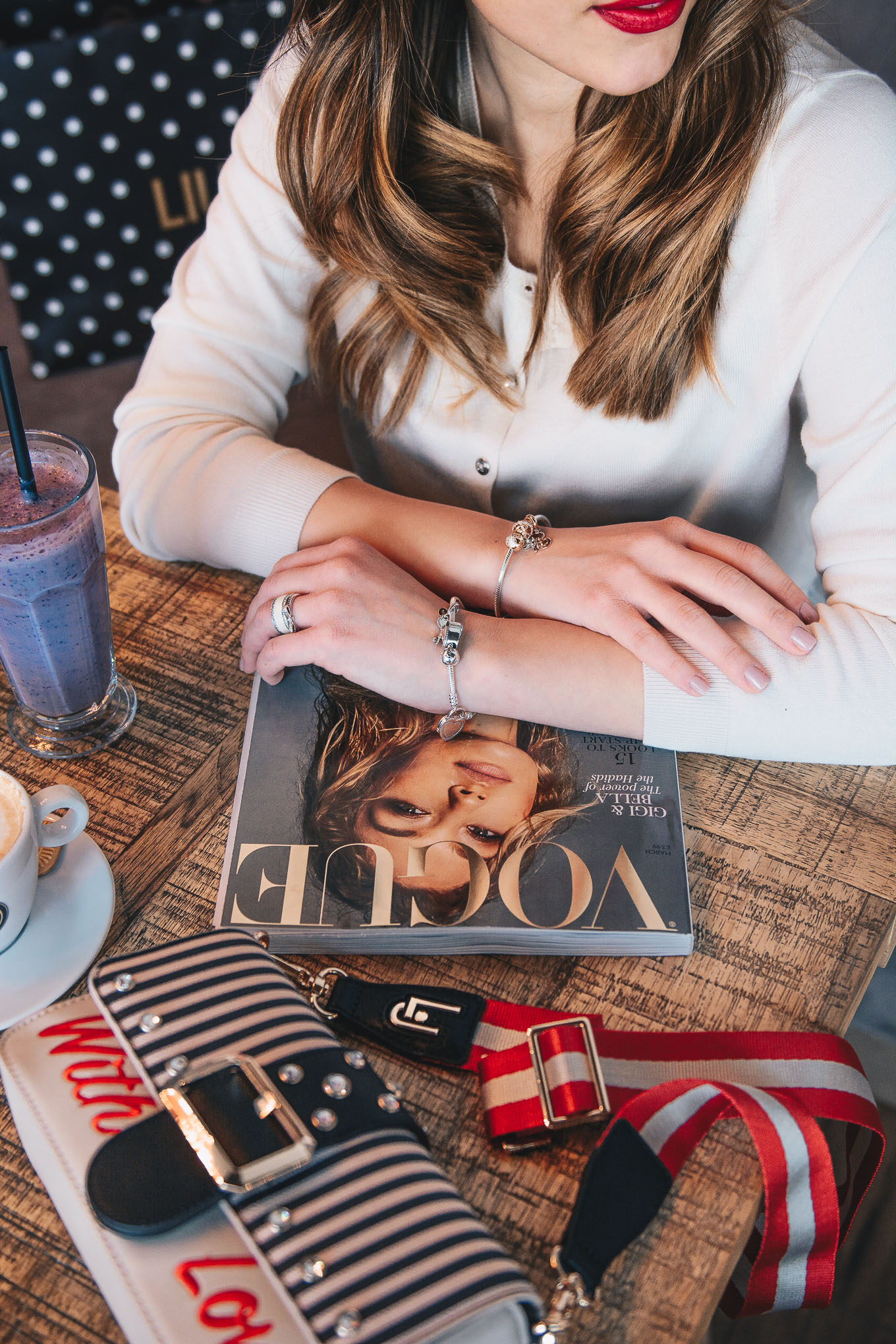 Reading vogue mahazine pandora bracelet