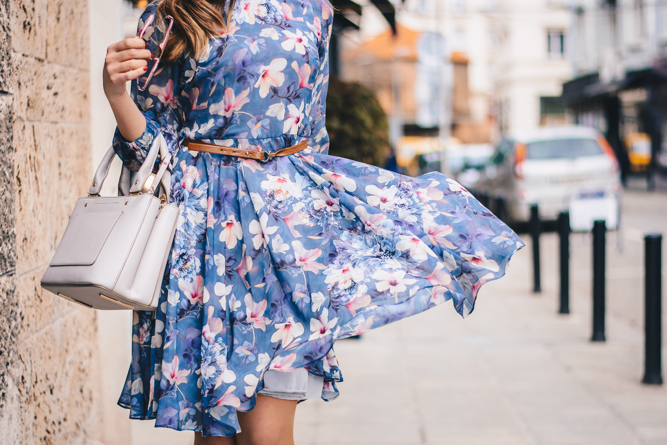 City walk in floral dress