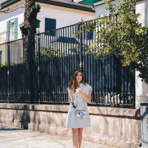Blue striped dress for easter