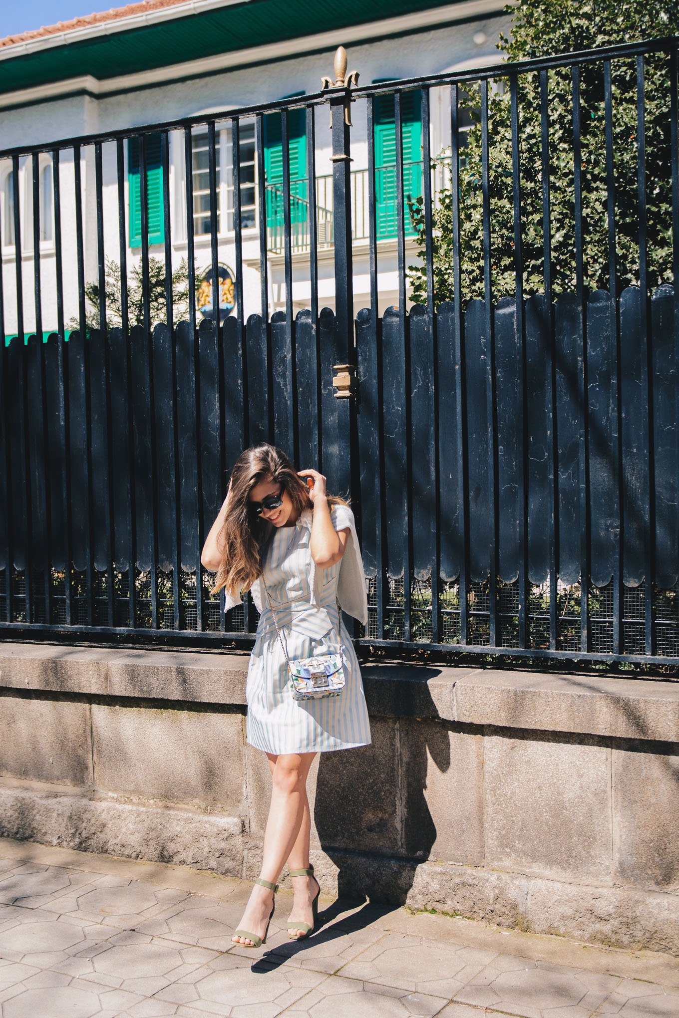 Bulgaria blogger wearing striped dress