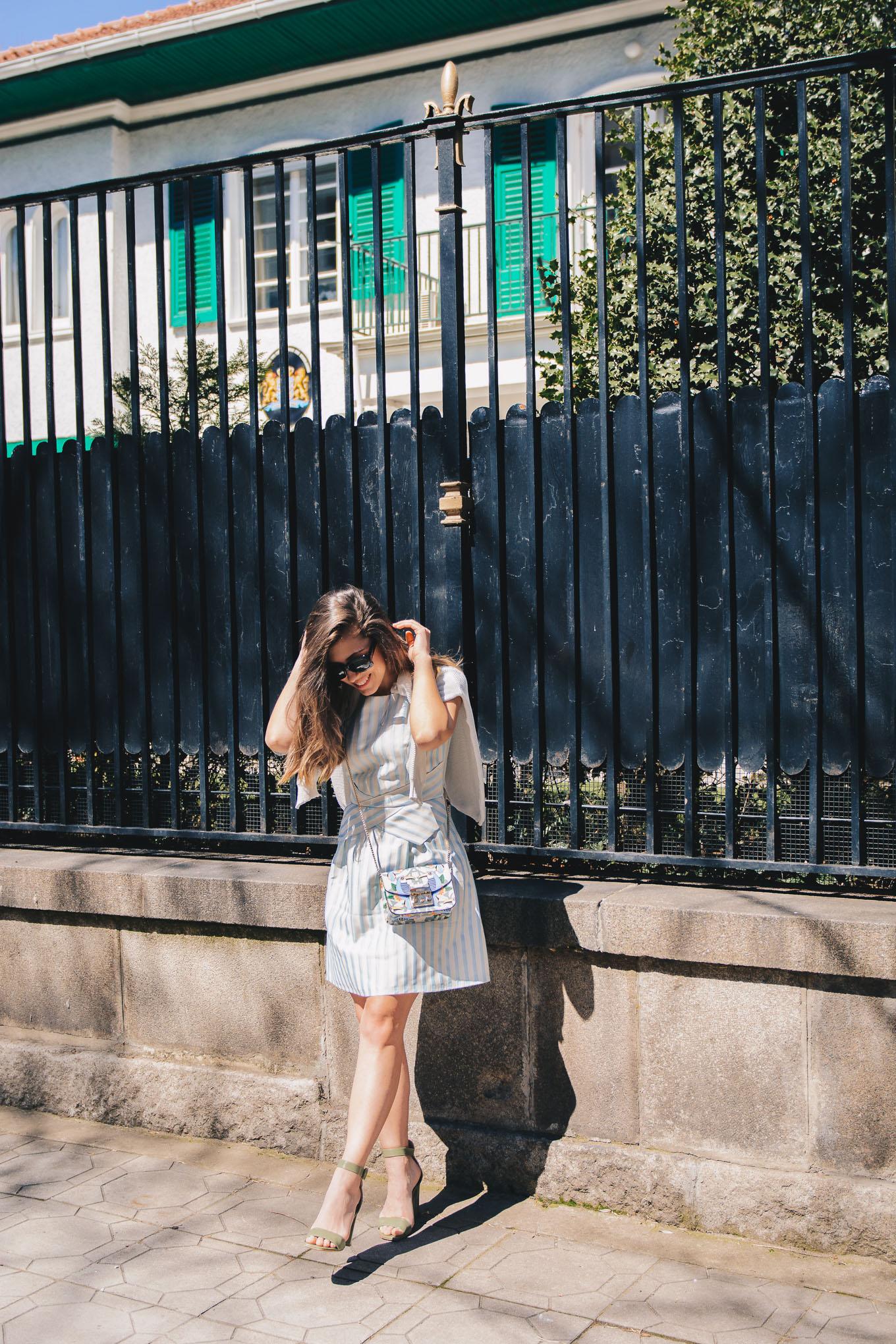 Bulgaria blogger wearing striped dress
