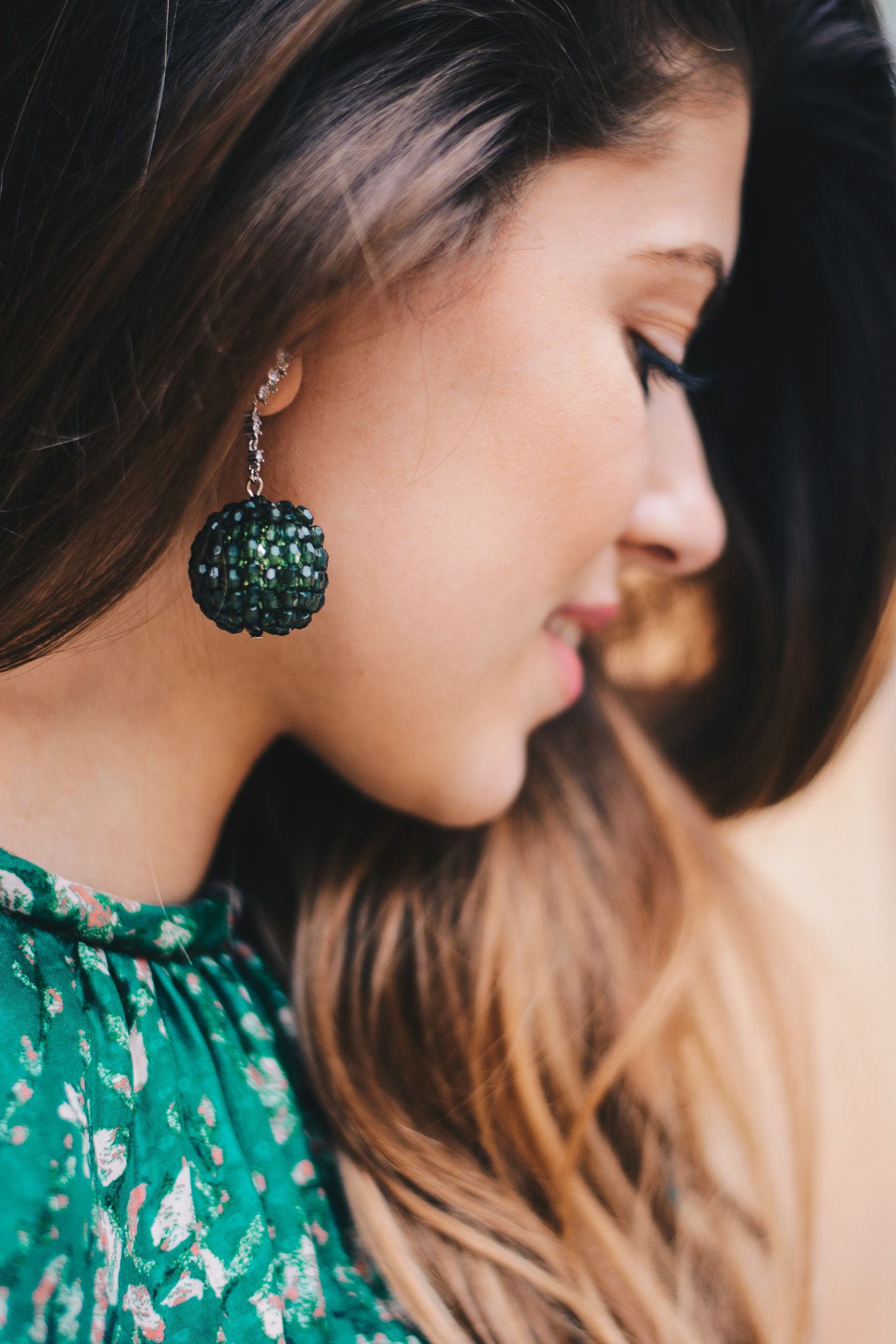 H&M Conscious Exclusive green pendant earings