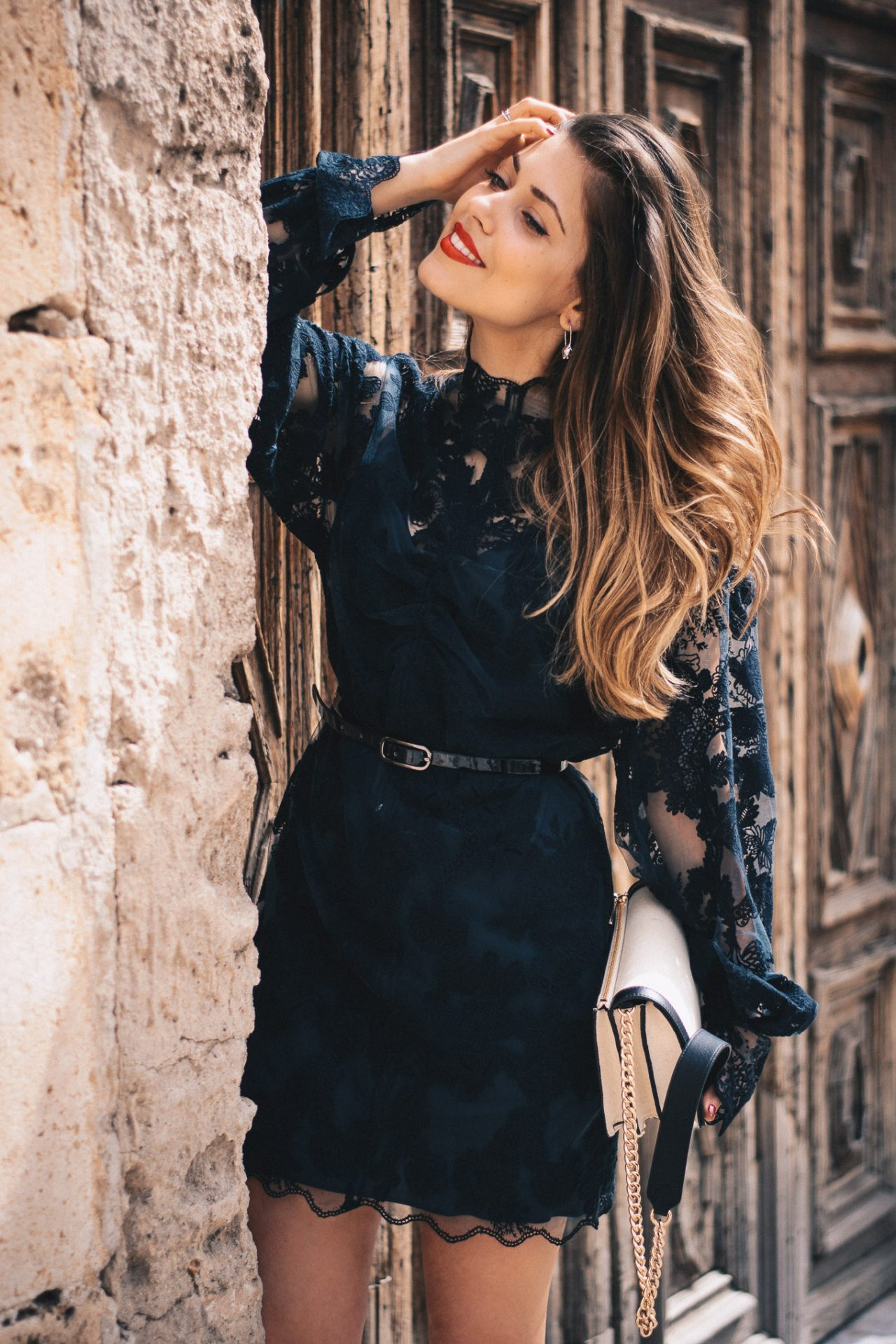 HM black lace dress Denina Martin