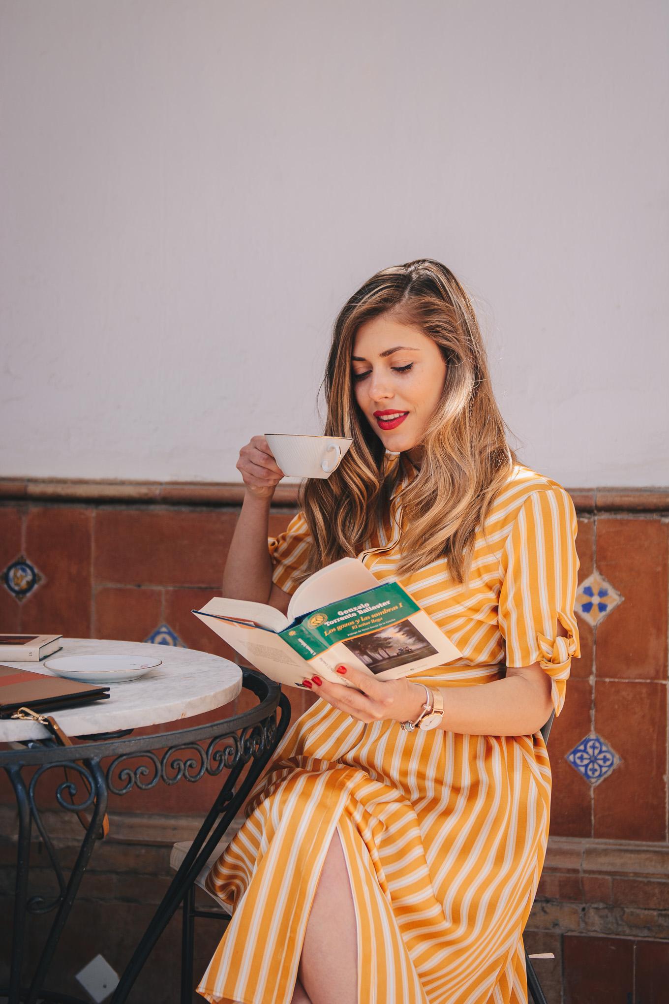 Reading book at the villa