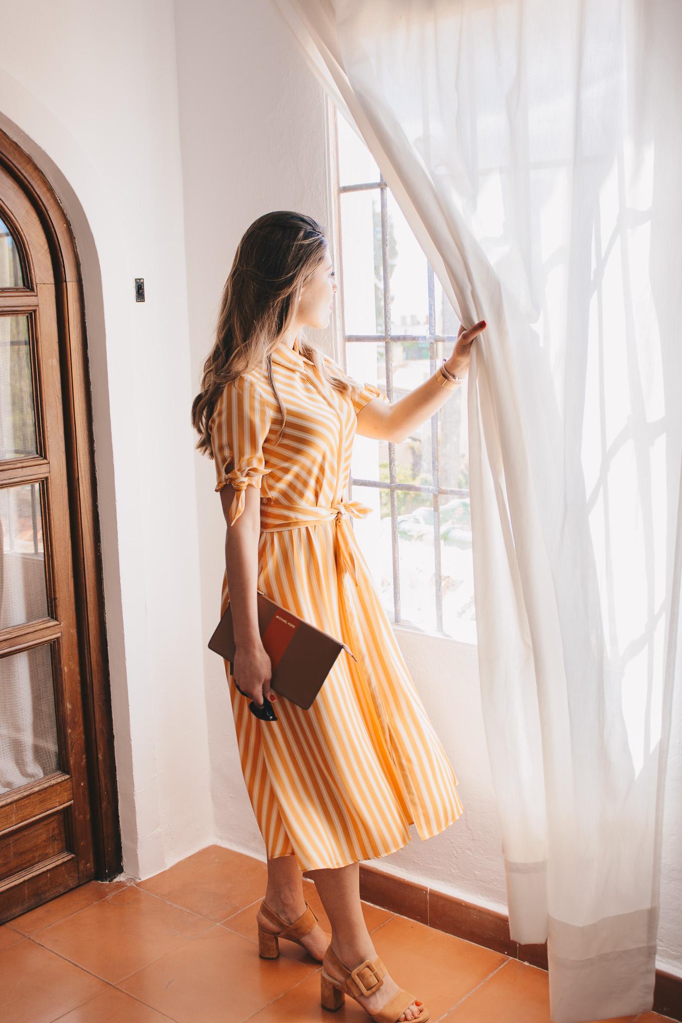 Wearing my Mango striped dress