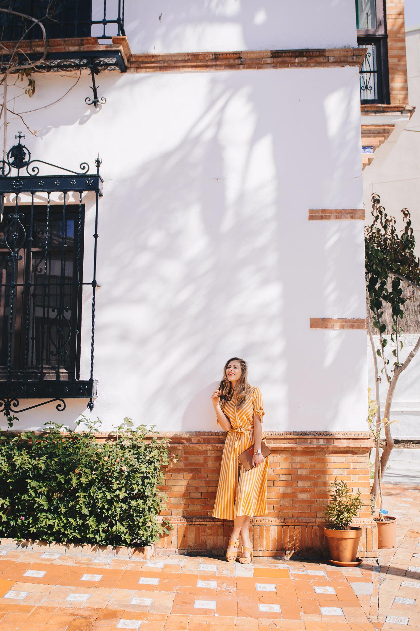 Wearing sunny striped dress