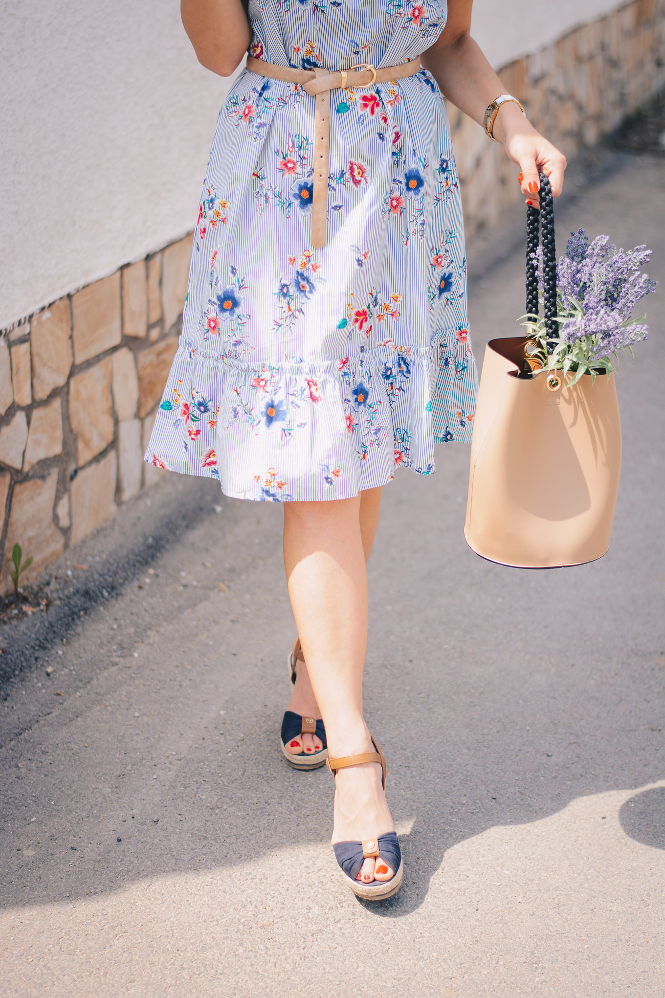 bucket bag lavender and floral dress