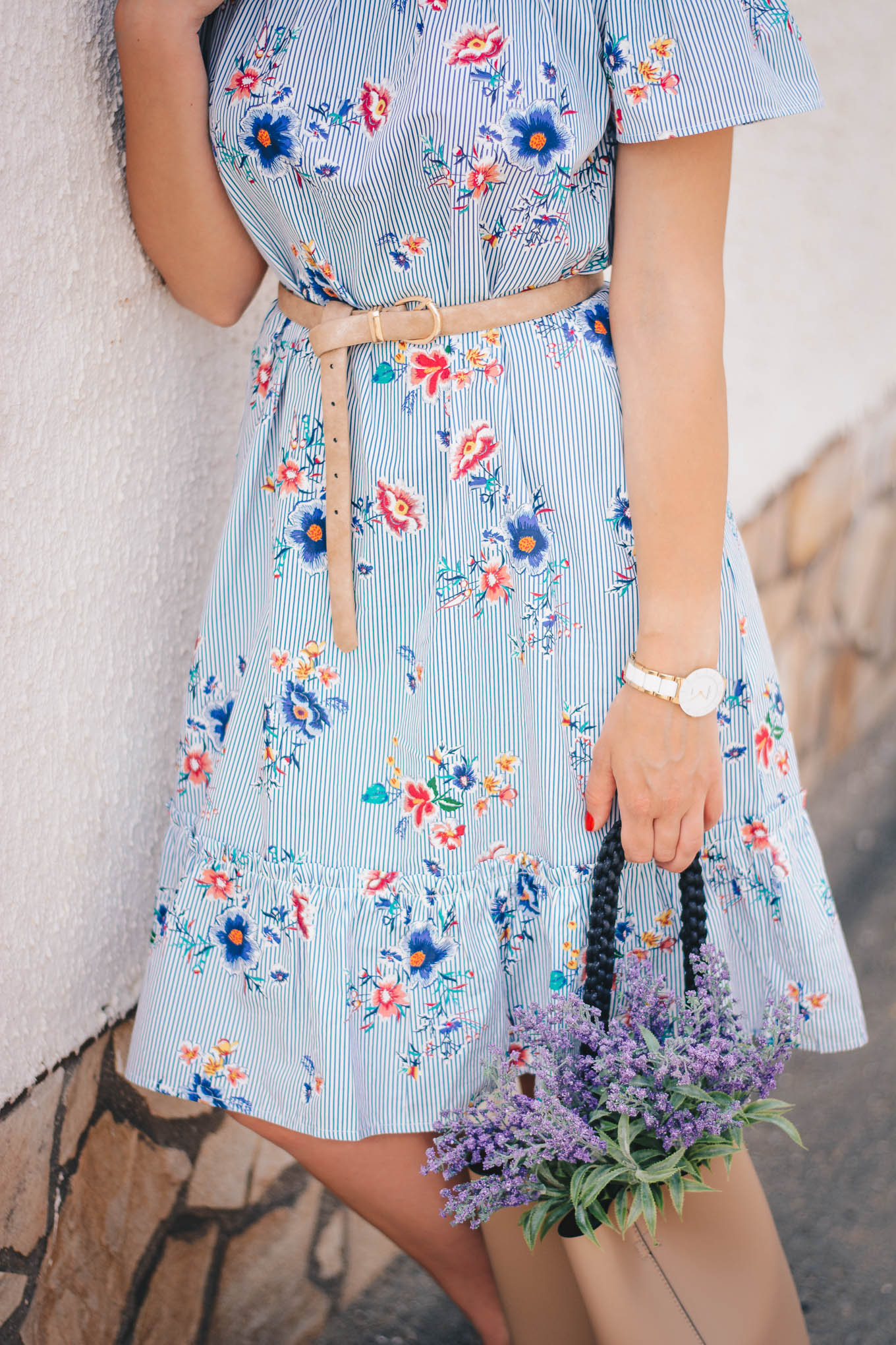 summer florals bucket bag