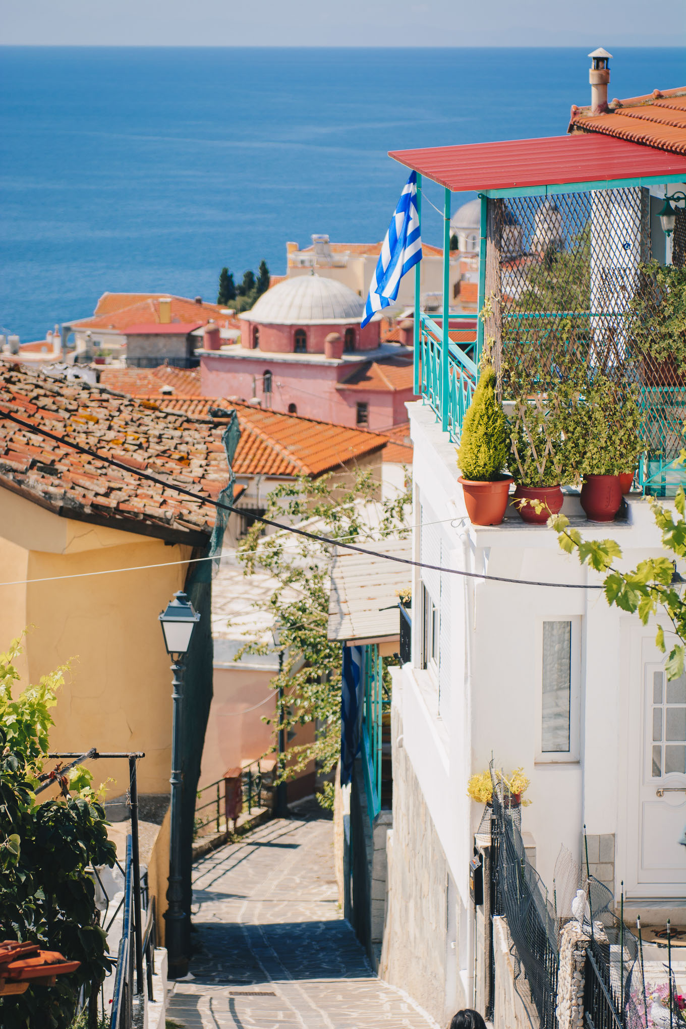 Charming Kavala old town street