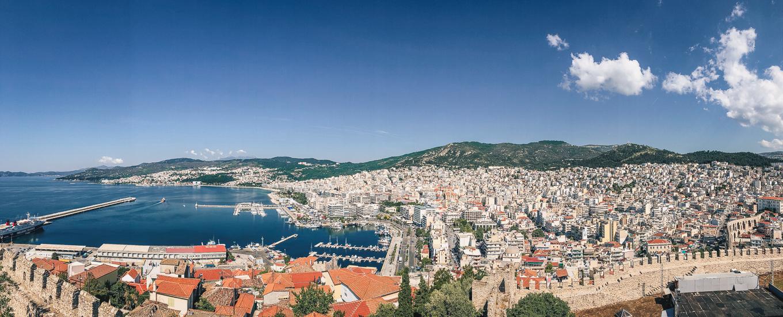 Kavala city port Panorama