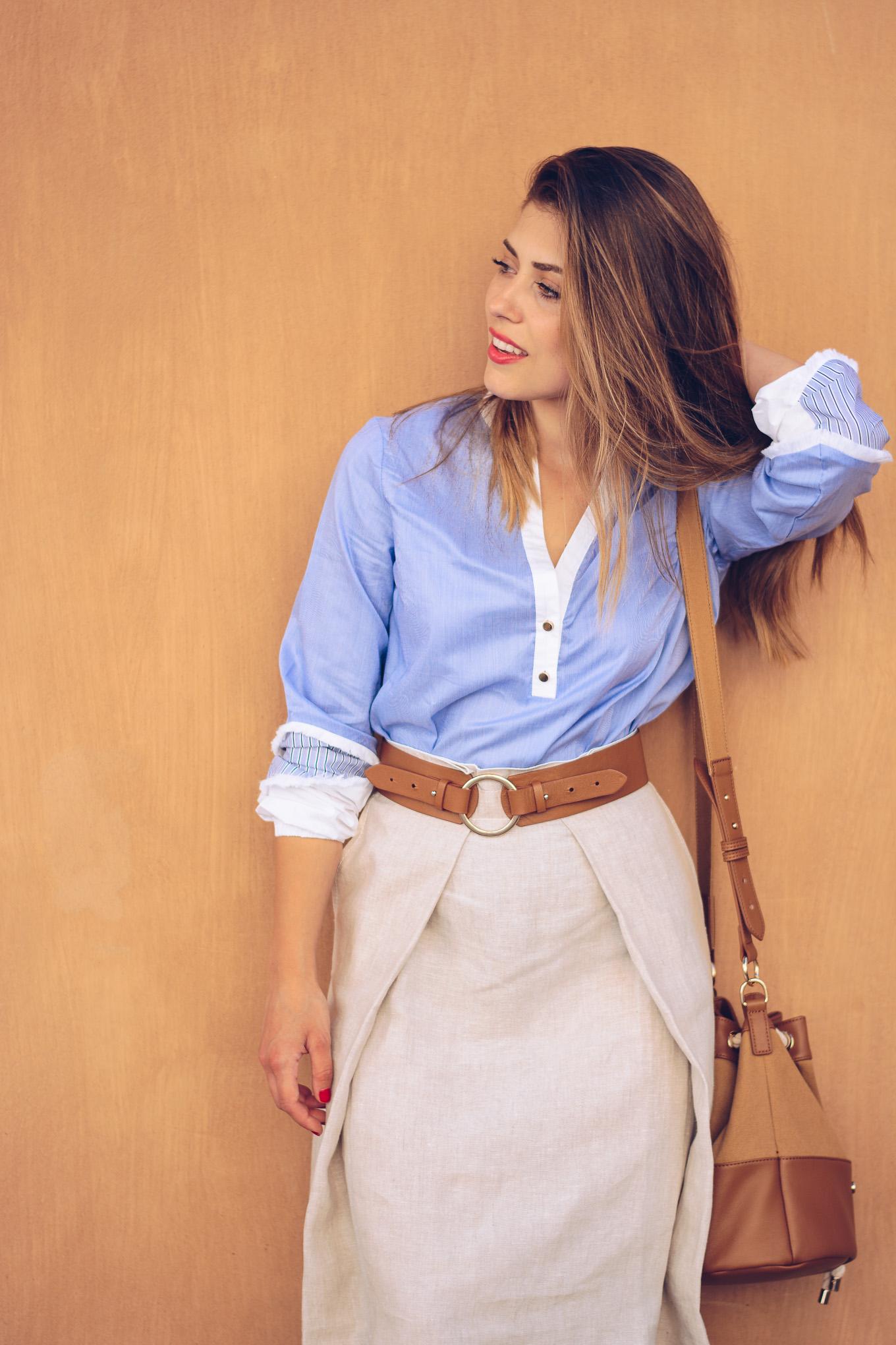 Pennyblack Colour block blouse with fringe
