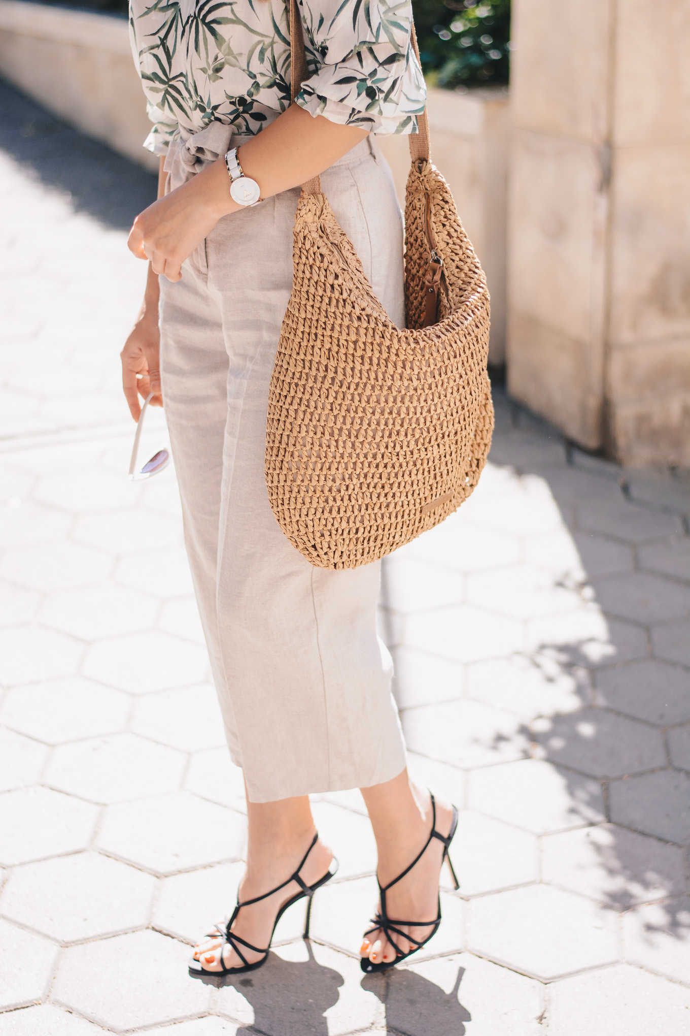 linen trousers saddle bag