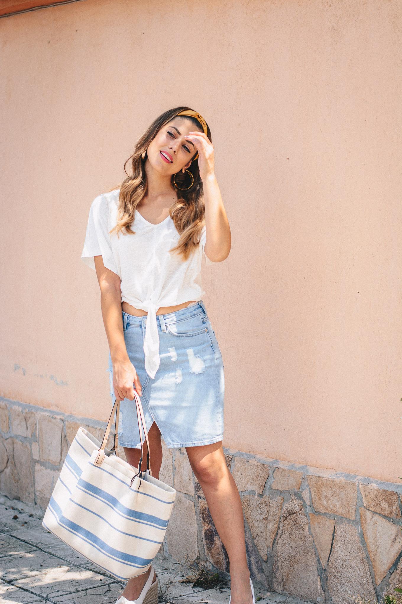 Light denim skirt+blouse+bag