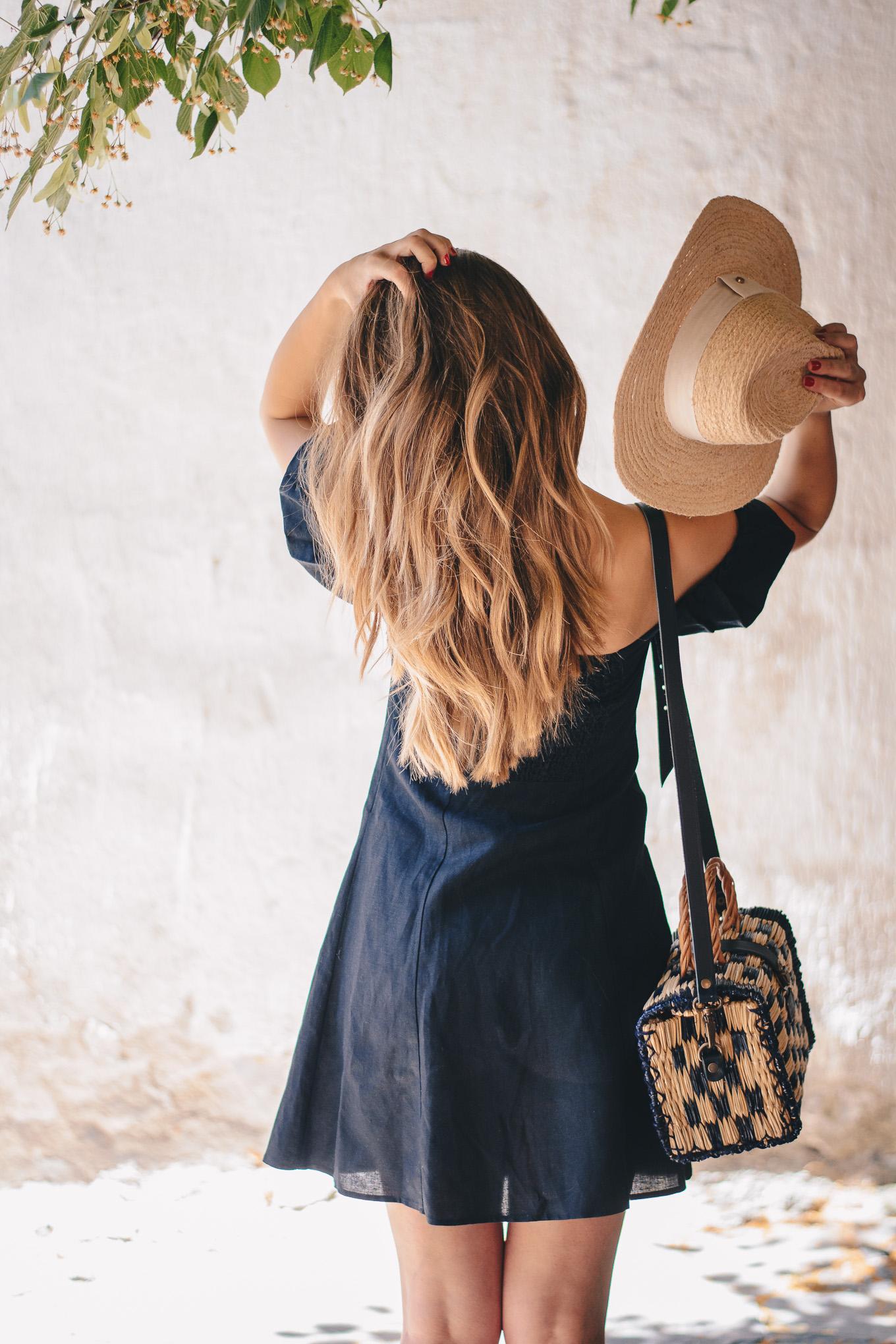 Summer little black linen dress