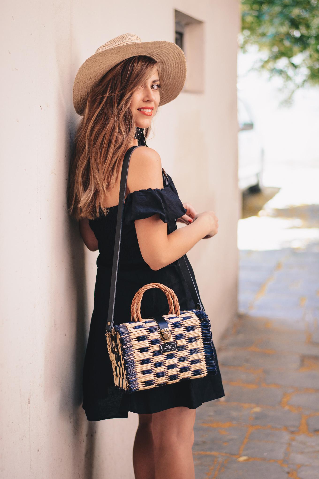 Victoria handmade navy blue basket