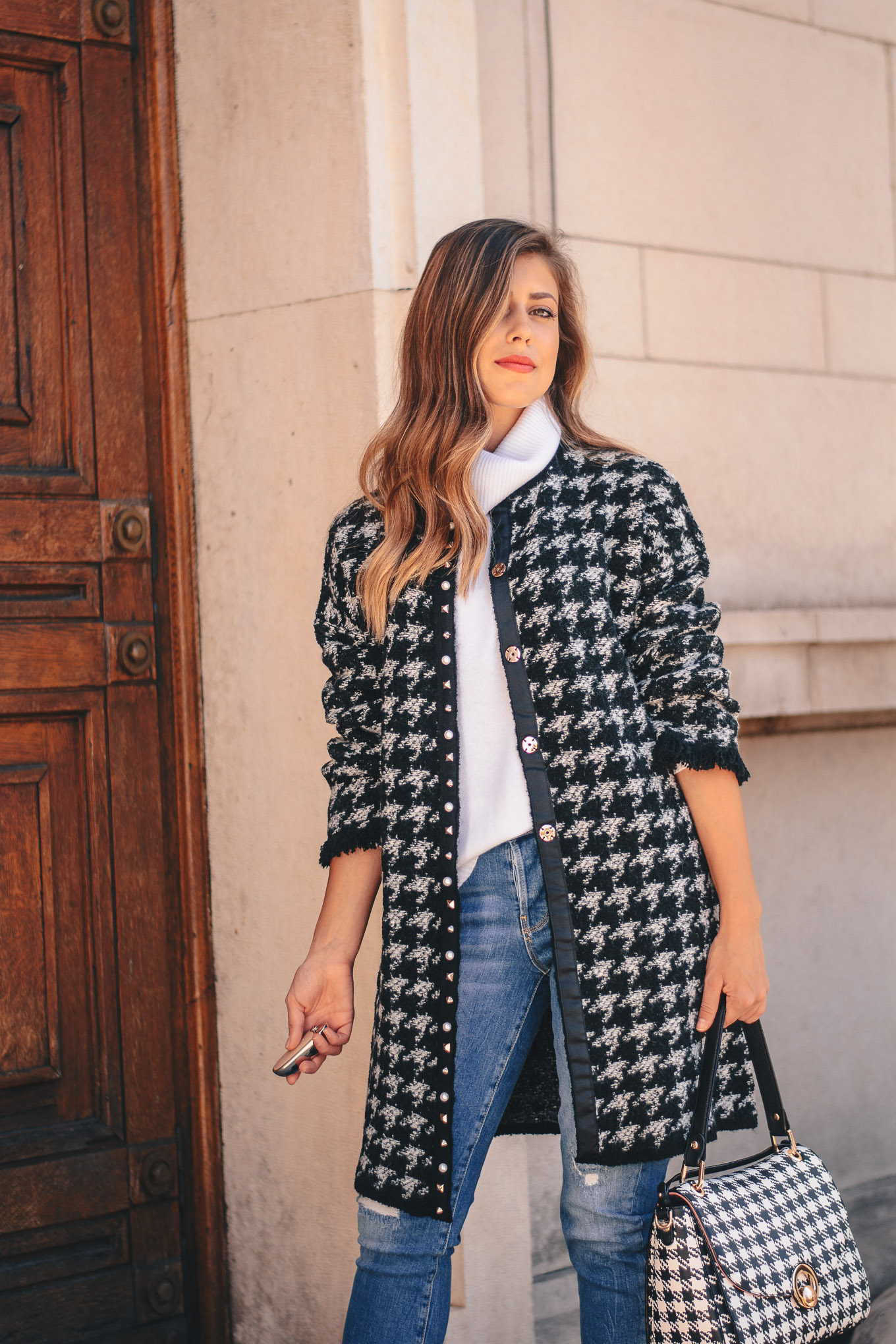 Houndstooth coat blogger Denina Martin