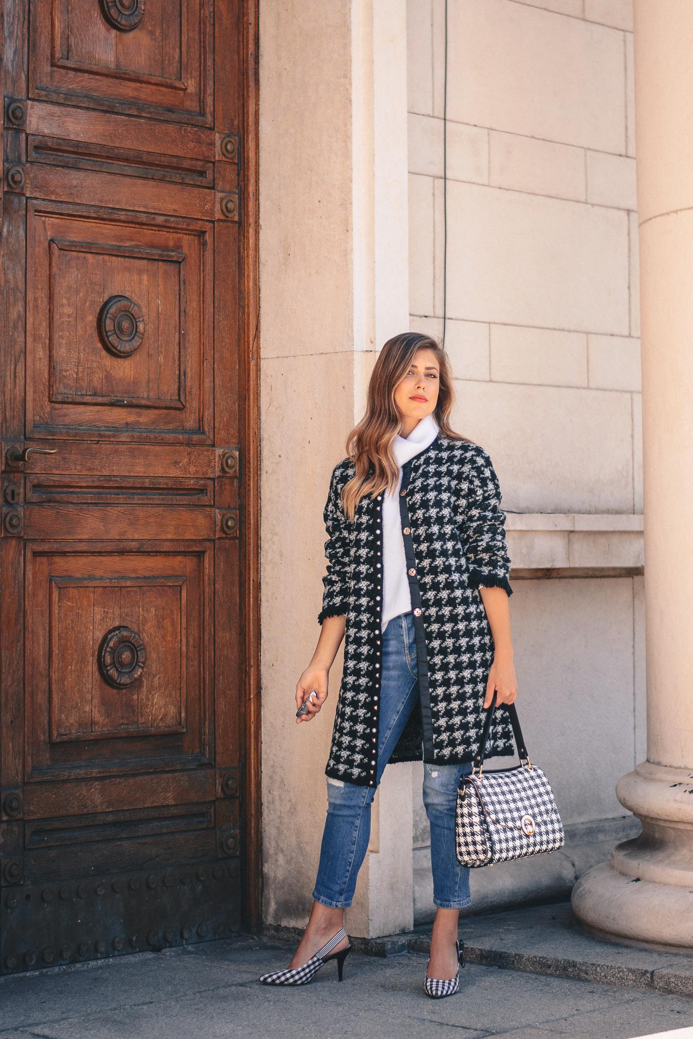 Houndstooth coat italian fashion