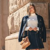 Western style denim skirt jacket