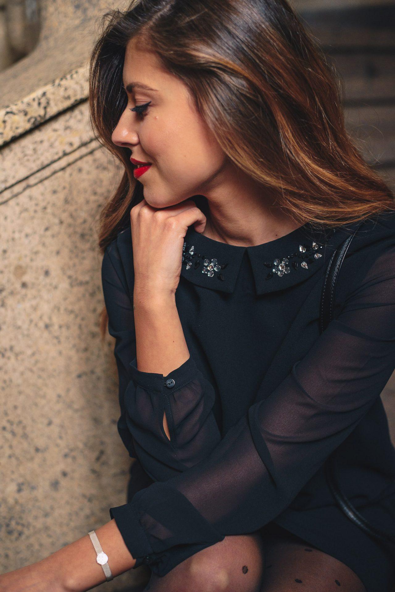 Красива черна рокля блогърка Денина Мартин